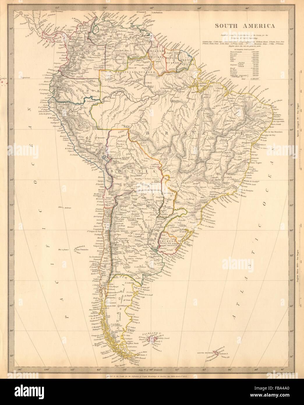 Map peru chile stock photos map peru chile stock images alamy south america brazil chile peru bolivia patagonia la plata sduk 1844 map gumiabroncs Gallery