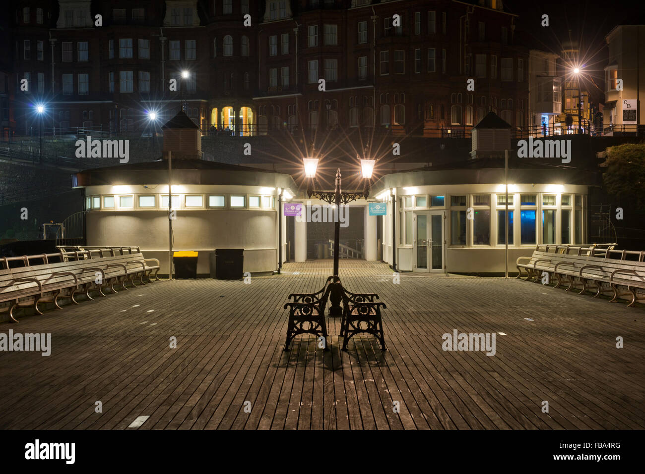 Night shot of Cromer Pier, Norfolk, UK Stock Photo