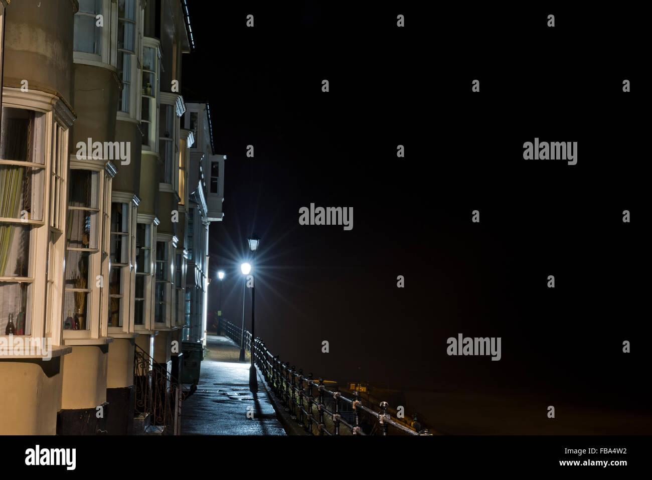 Night shot of the Esplanade at Cromer sea front, Norfolk, UK - Stock Image