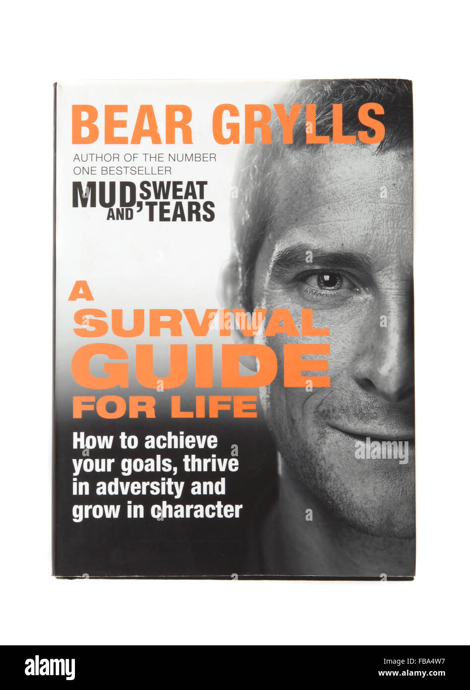 The book - Mud, sweat and tears a survival guide by Bear Grylls - Stock Image