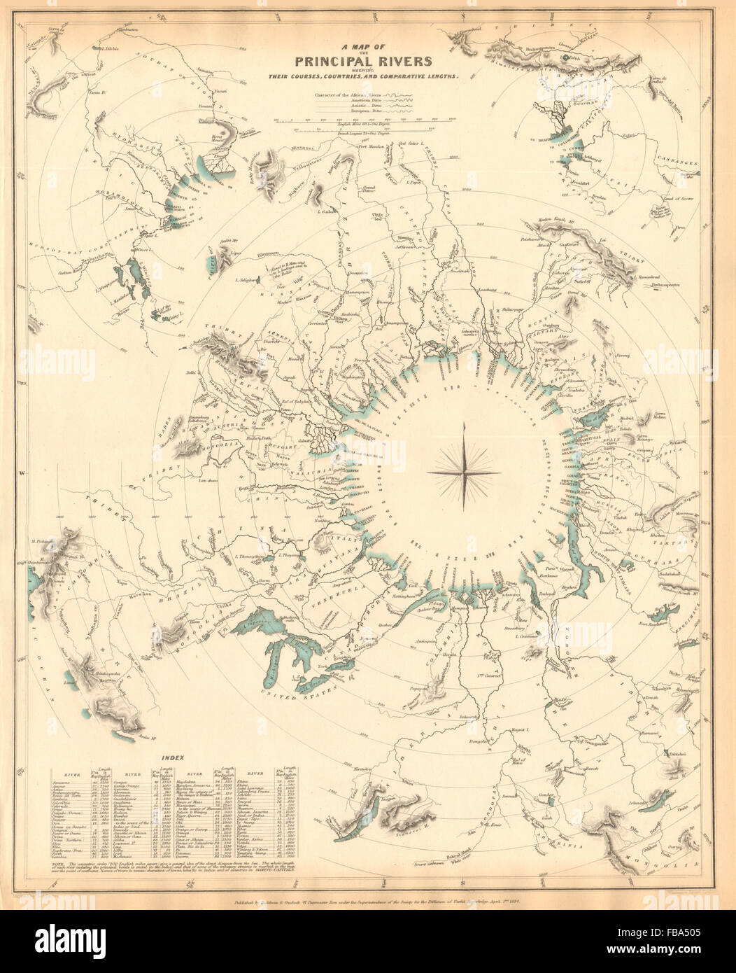 WORLD RIVERS. Comparative lengths of principal rivers. Countries.SDUK, 1844 map - Stock Image