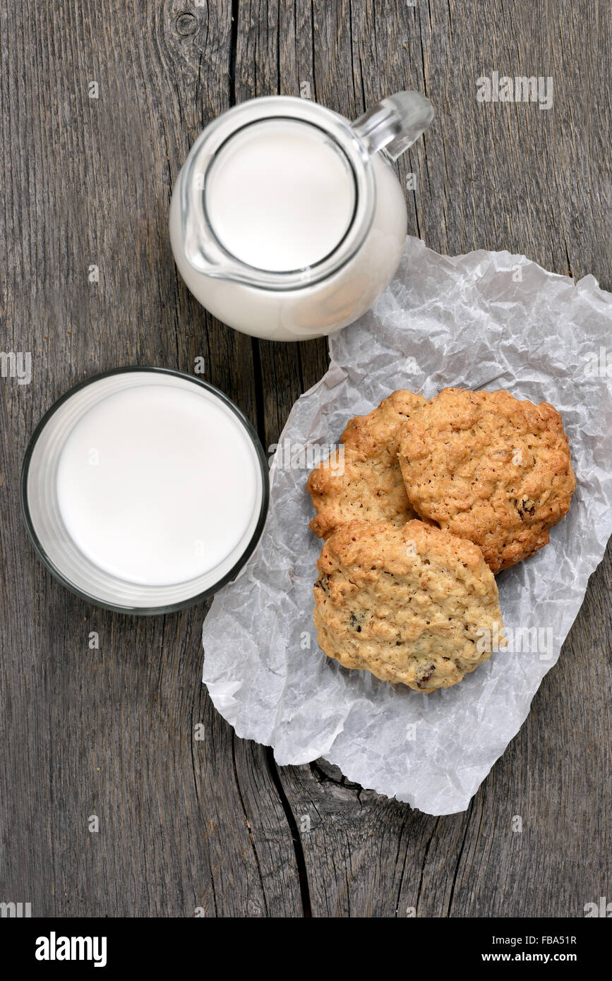 Healthy food oats cookies and milk, top view - Stock Image