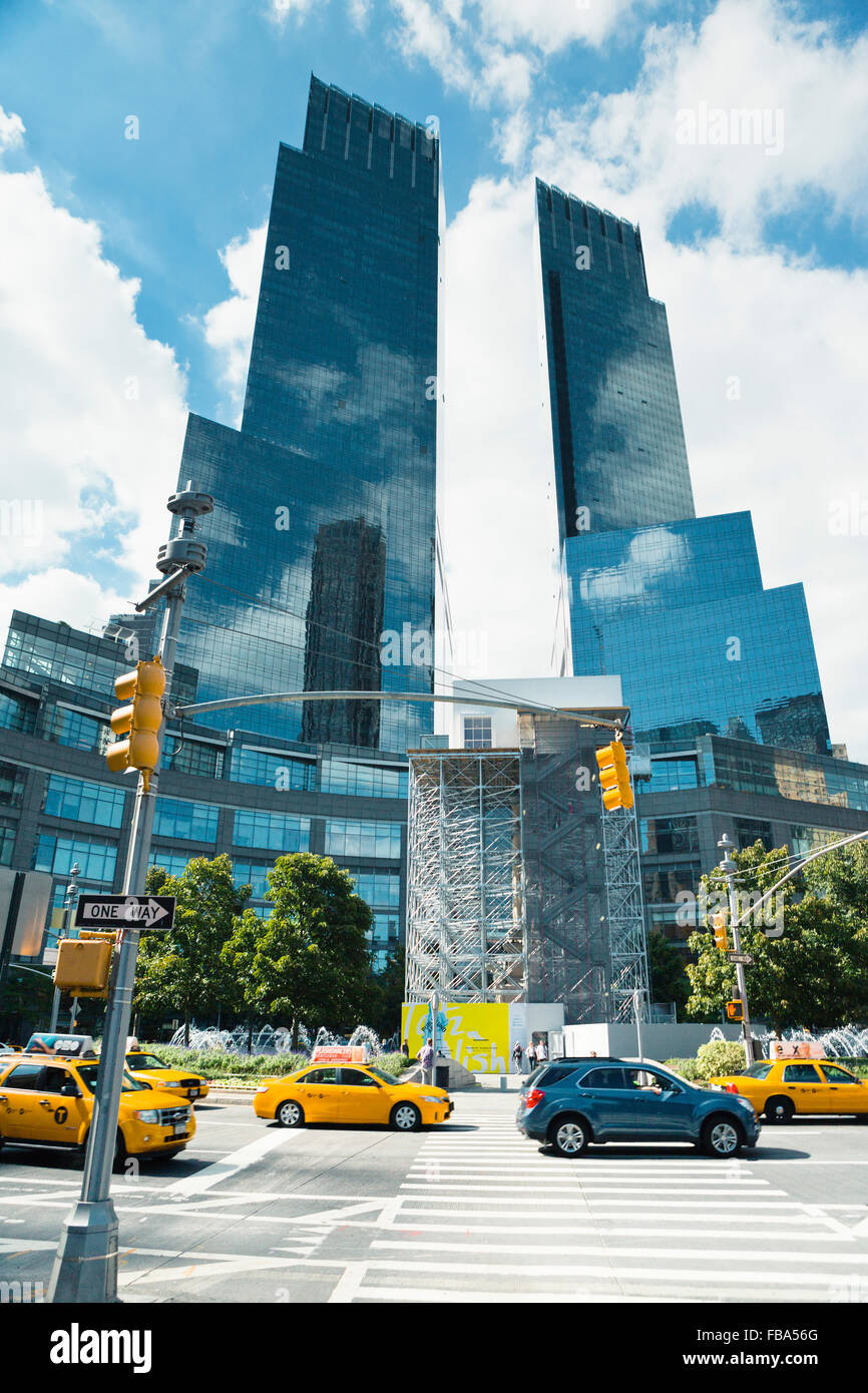 USA, New York City, Manhattan, View along zebra crossing leading towards two skyscrapers Stock Photo