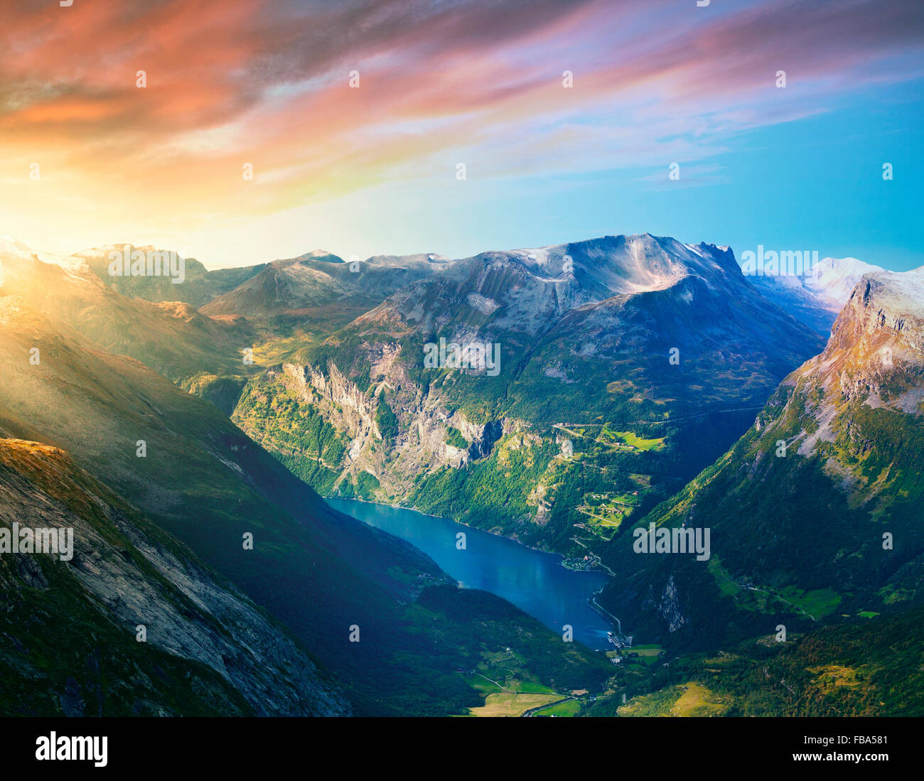 Norway, More og Romsdal, Sunnmore, Geirangerfjord, Narrow patch of sea at bottom of fjord - Stock Image