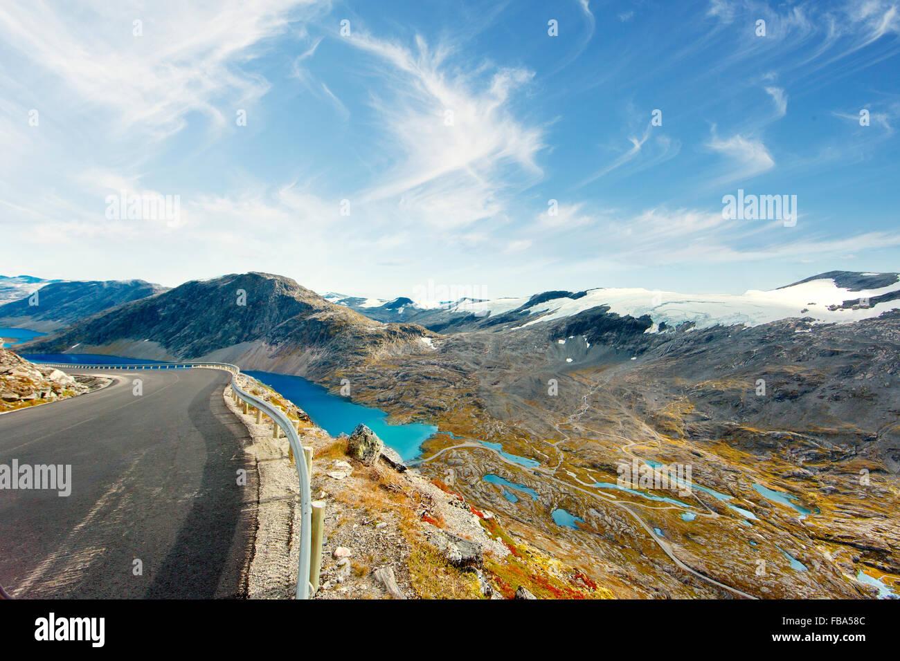 Norway, More og Romsdal, Sunnmore, View of Geirangerfjord from Trollstigen Road - Stock Image
