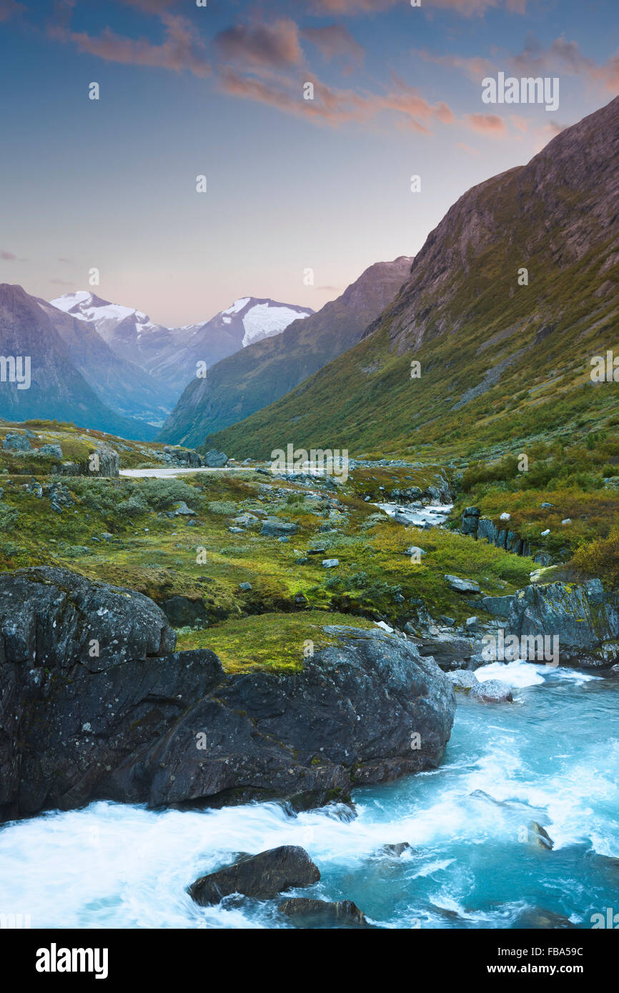 Norway, More og Romsdal, Sunnmore, Geirangerfjord, Rapids in mountain valley - Stock Image