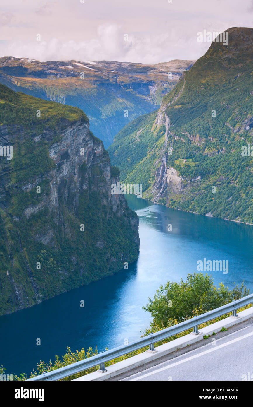 Norway, More og Romsdal, Sunnmore, Scenic view of landscape from road in mountains Stock Photo