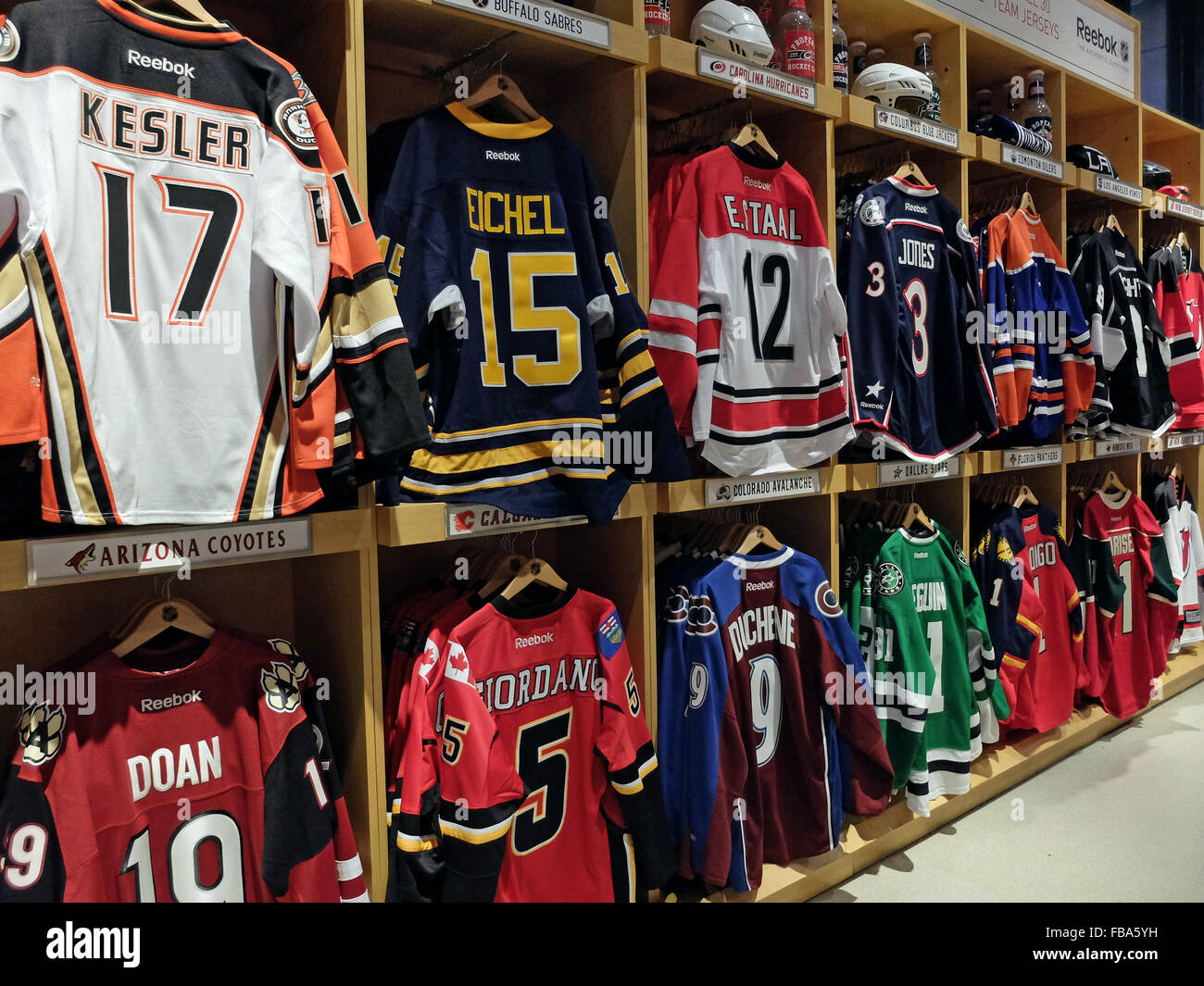 NHL hockey players sweaters for sale at the NHL store on Avenue of the  Americas in Midtown Manhattan d92ca11791a