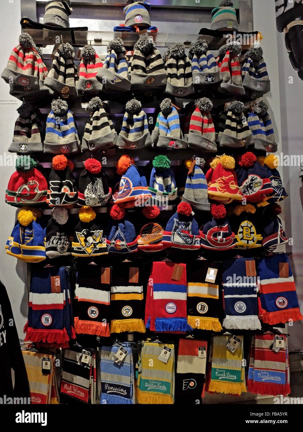 6daa3d297bc NHL hockey hats & scarves for sale at the NHL store on Avenue of the  Americas in Midtown Manhattan, New York City.