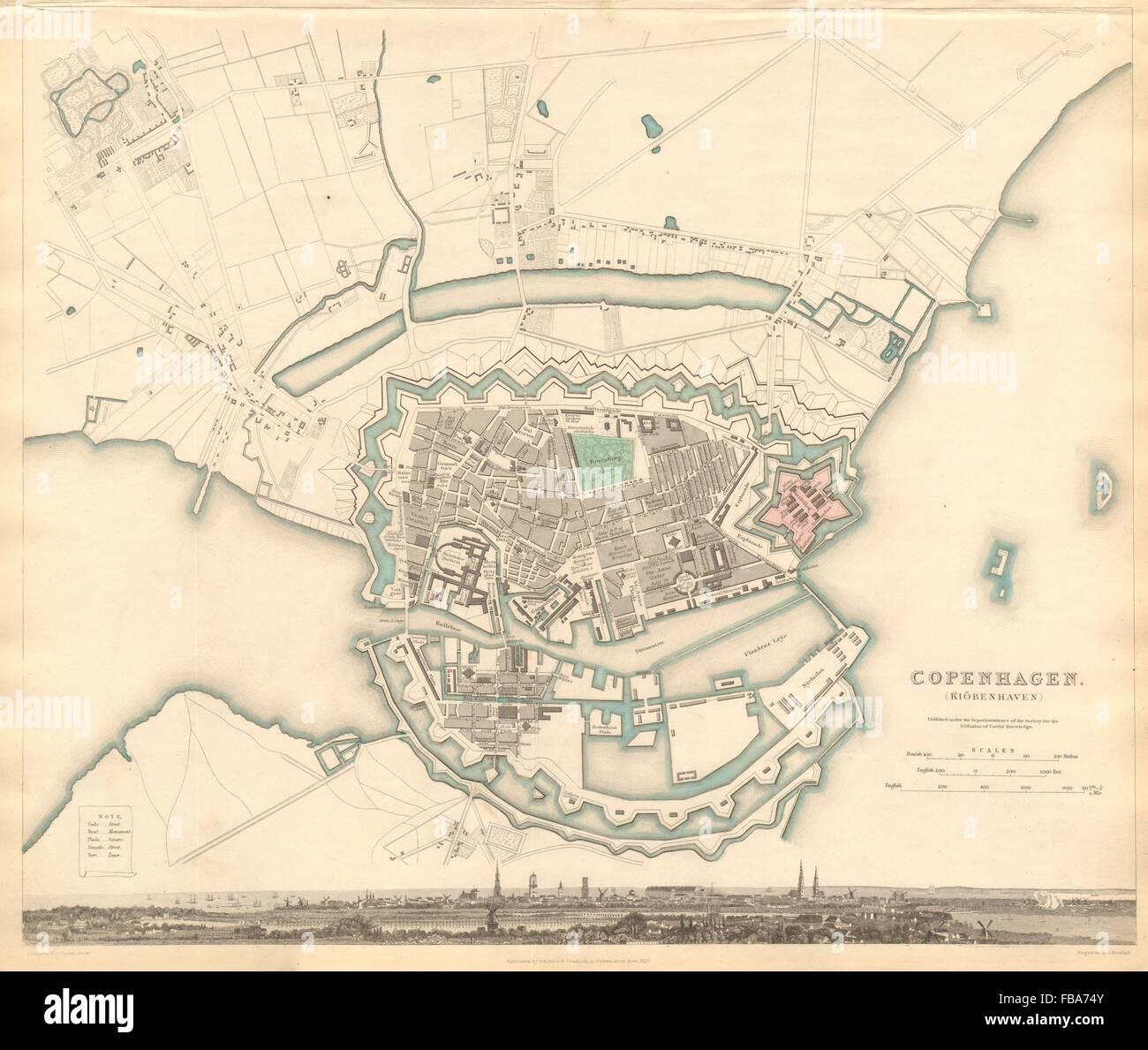 COPENHAGEN KIOBENHAVEN KOBENHAVEN KØBENHAVN. Town city map plan. SDUK, 1844 - Stock Image