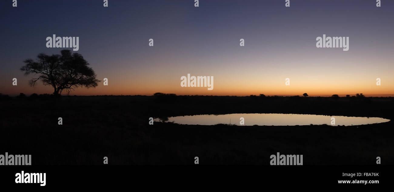 Panorama from two photos. Sunset view of the waterhole, Okaukeujo Rest Camp,  Etosha National Park, Namibia - Stock Image