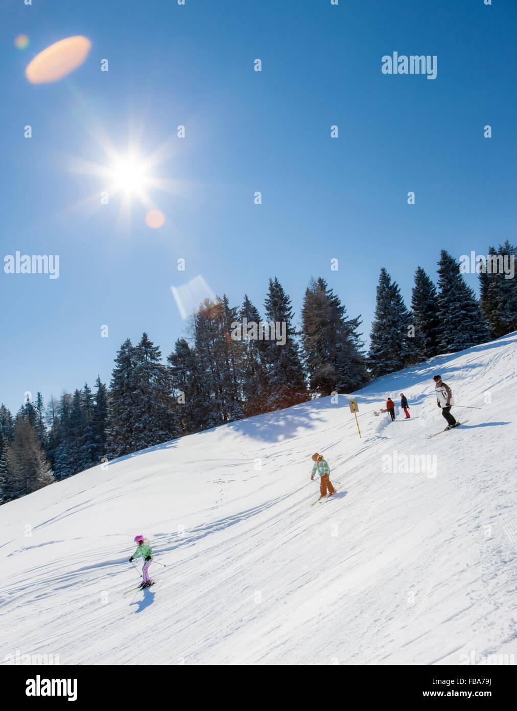 Switzerland, Lenzerheide, People skiing - Stock Image