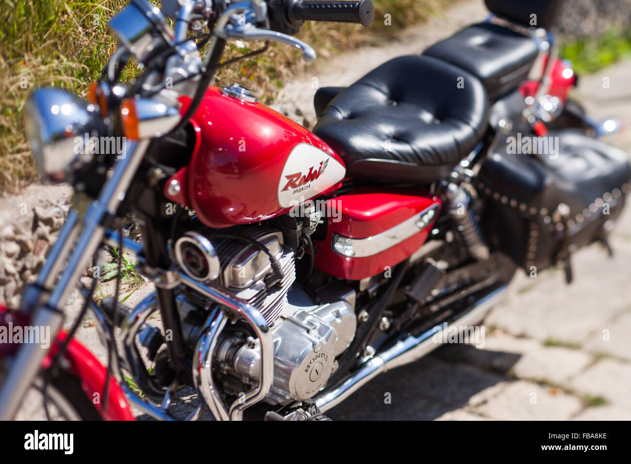 Classic motorcycle, close up view, depth of field effect Stock Photo
