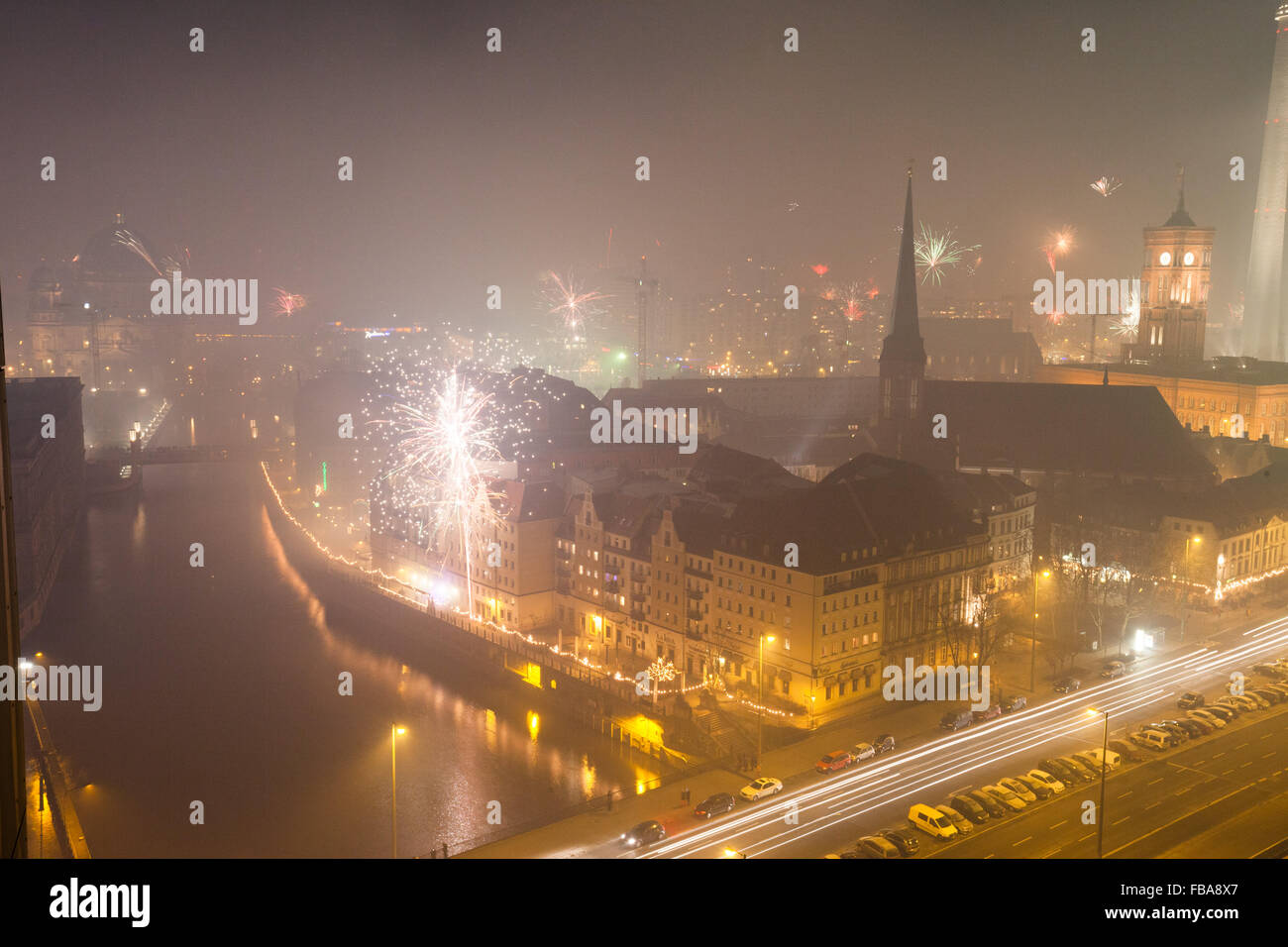 View over Berlin on New Years Eve 2013 with fireworks Stock Photo
