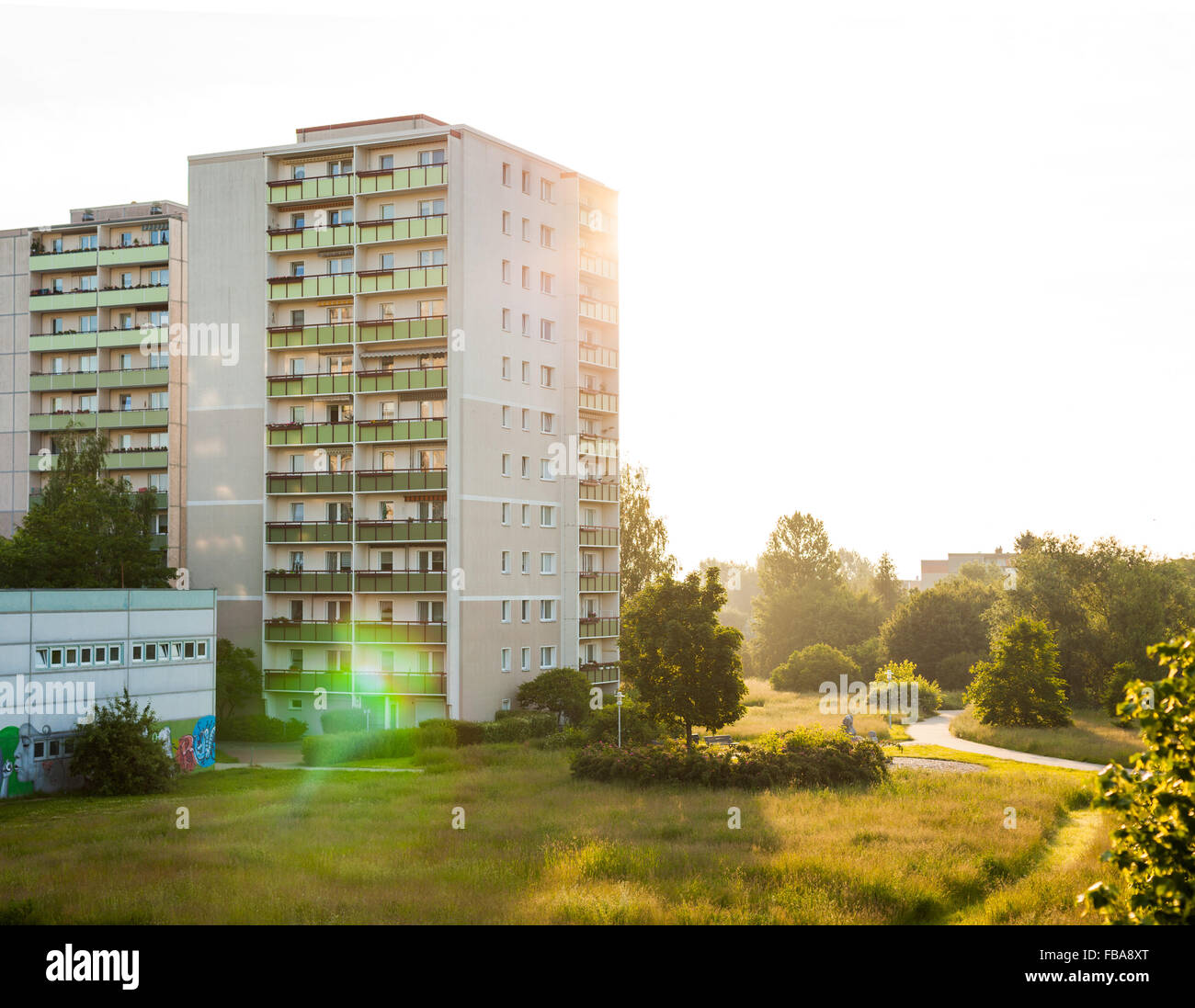 """Plattenbau"" style apartment buildings in Frankfurt (Oder), former East Germany Stock Photo"