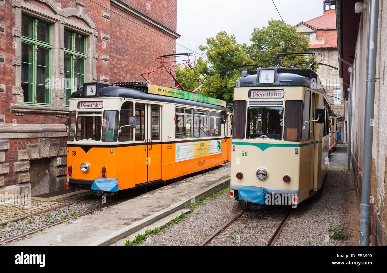 Vintage trolleys / streetcars / tram cars in Naumburg (Saale), Saxony-Anhalt, Germany - Stock Image