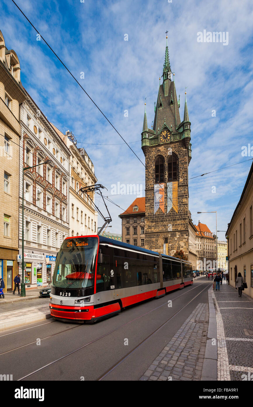 Jindrisska Tower in Prague with public transportation Stock Photo