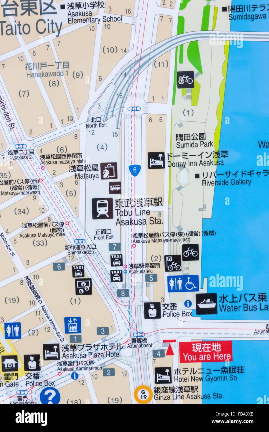 Tokyo Map Asakusa Stock Photos Tokyo Map Asakusa Stock Images Alamy