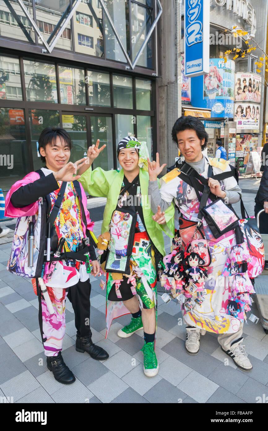 Japan Honshu Tokyo Akihabara Young Men Dressed In Cosplay