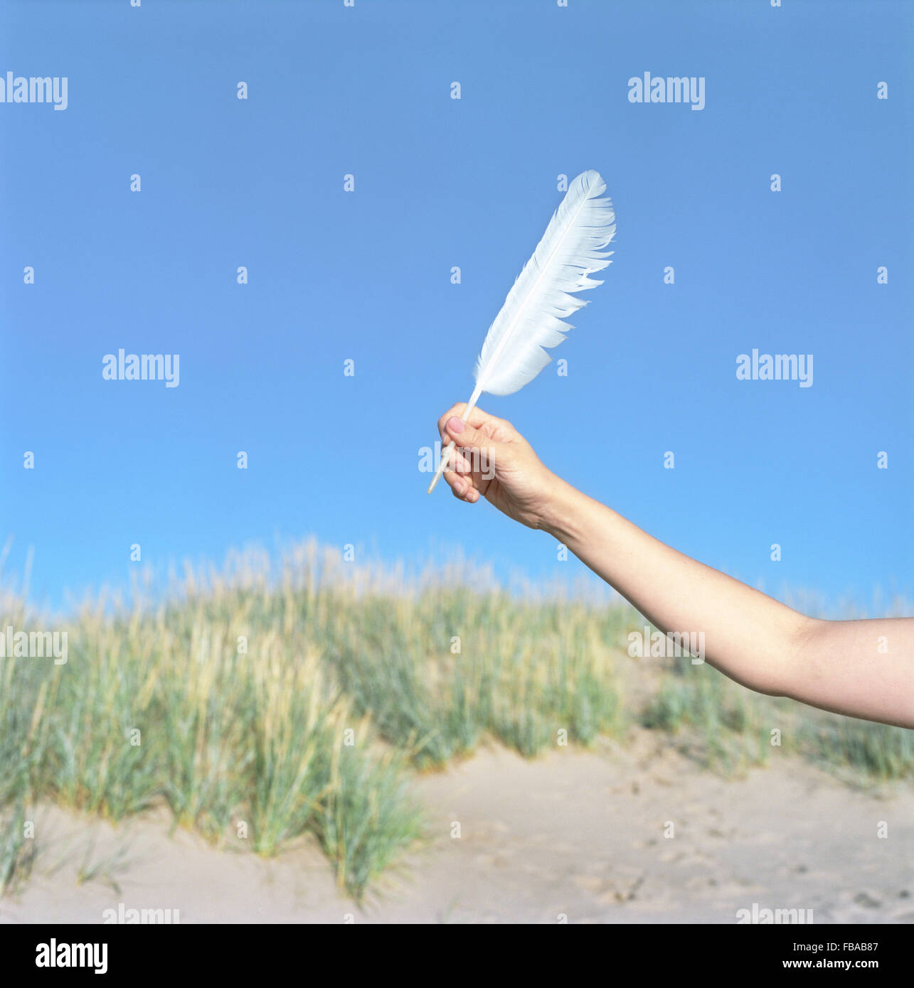 Finland, Pori, Yyteri, Close-up of woman's hand with feather on beach Stock Photo