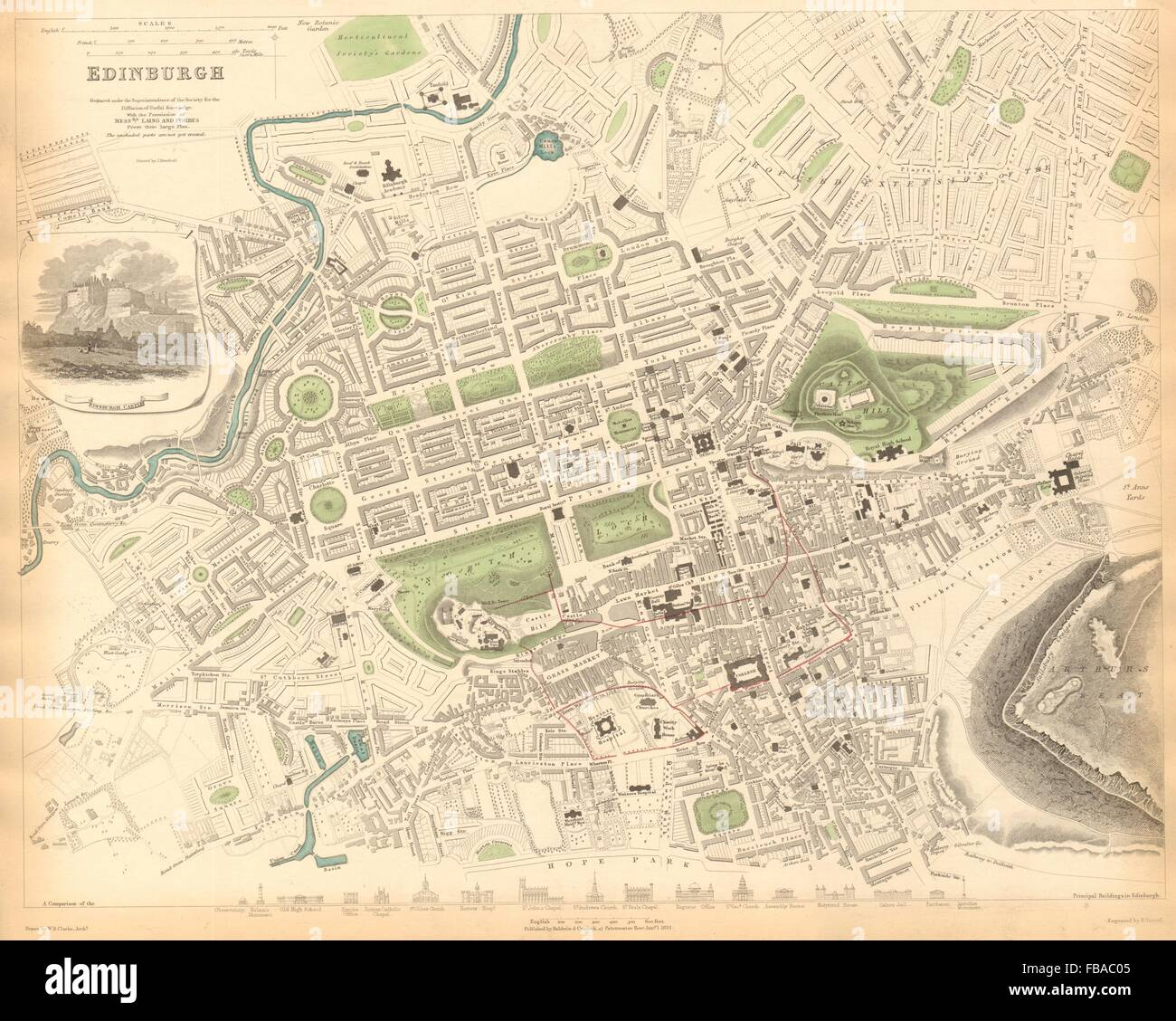 EDINBURGH. Antique town city map plan. Key buildings profiles. SDUK, 1844 Stock Photo