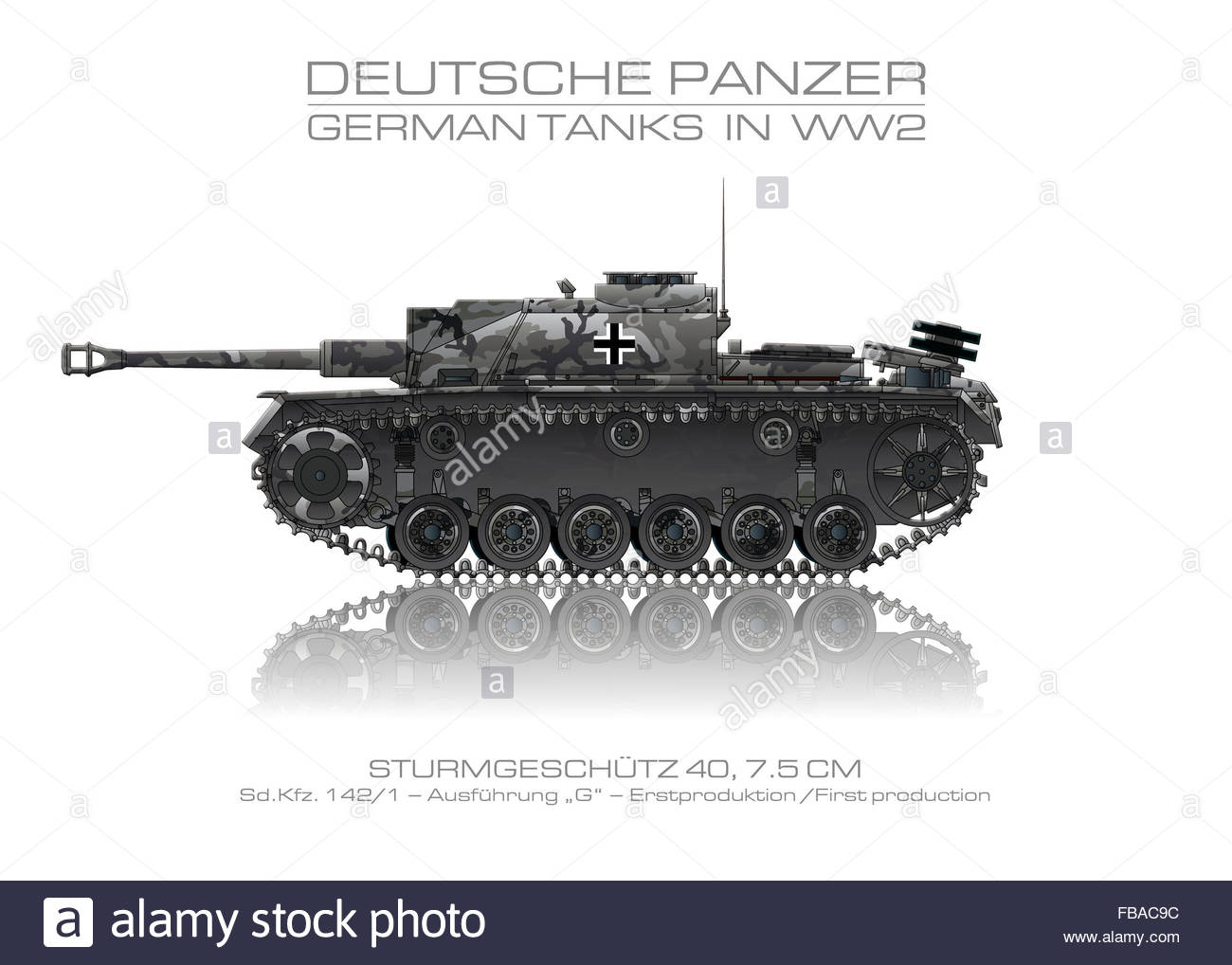 Sd. Kfz. 142/1 - German tank - Panzer. The picture shows a tank of the German Wehrmacht in World War II. - Stock Image