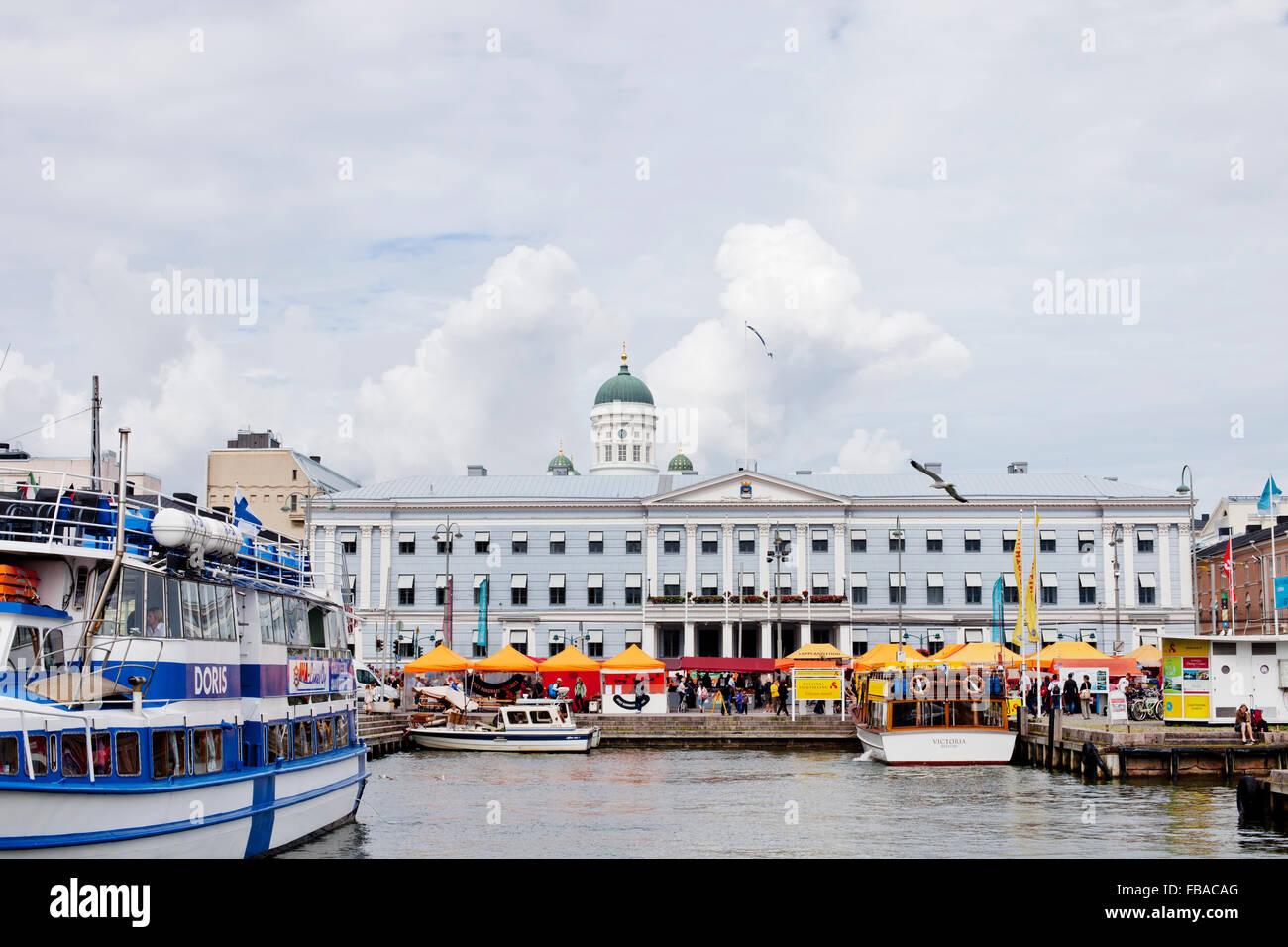 Finland, Uusimaa, Helsinki, Kruunuhaka, View of marina with anchored boats on cloudy day Stock Photo