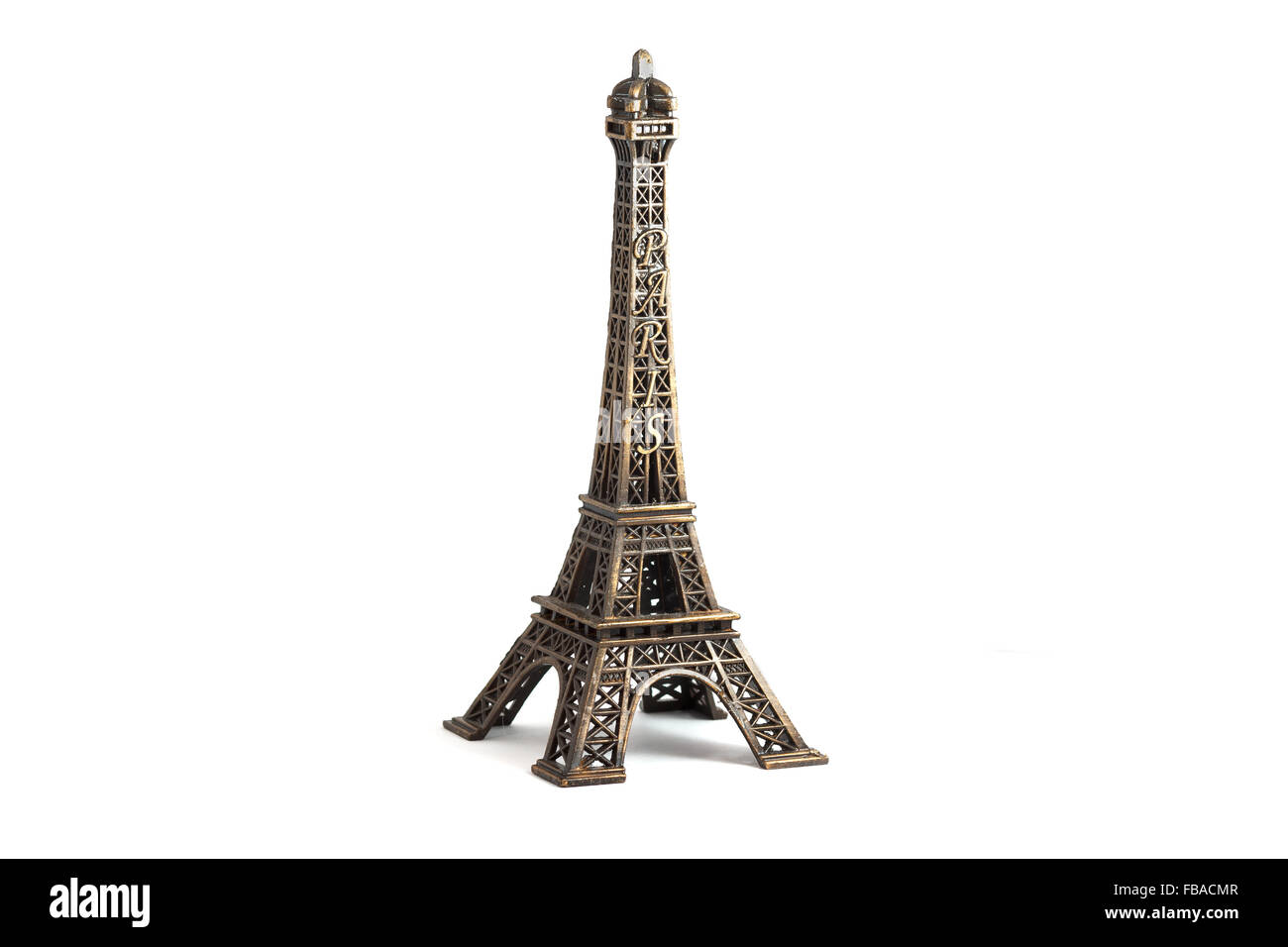 Eiffel Tower isolated on white - Stock Image