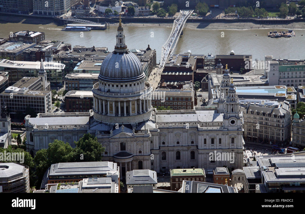 aerial view of St Paul's Cathedral looking south towards the River Thames, London, UK Stock Photo