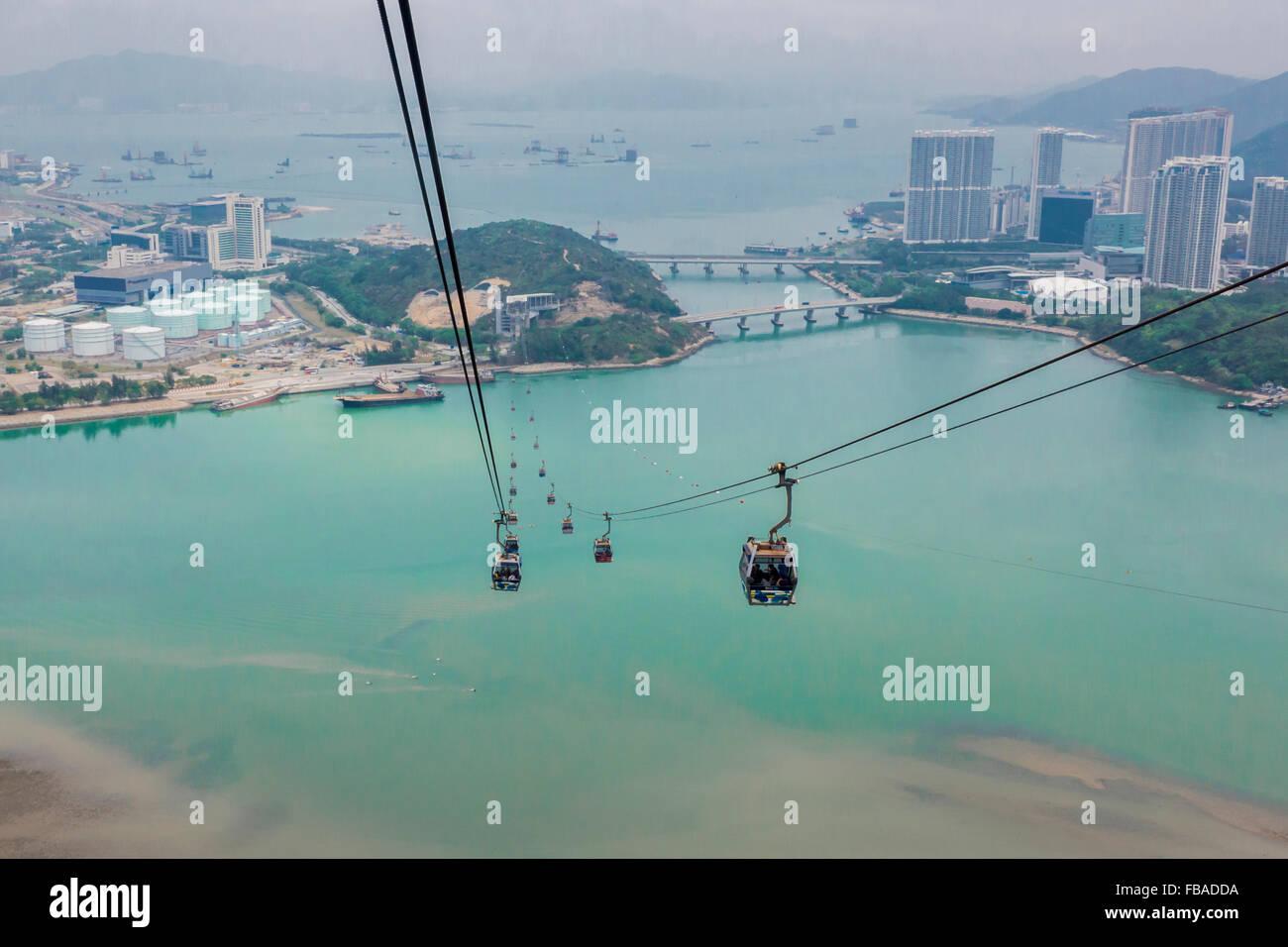 Ngong Ping 360 Cable Cars, Lantau Island, Hong Kong, China - Stock Image