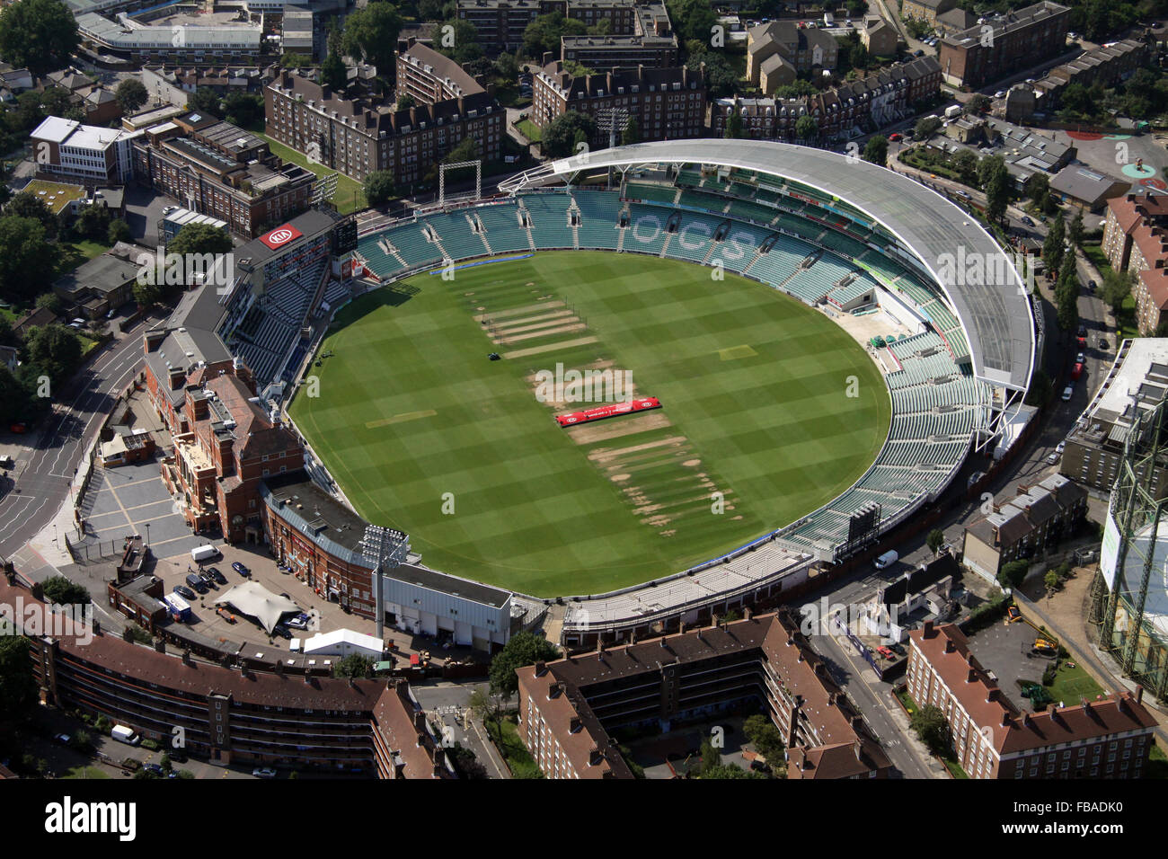 aerial view of the Kia Oval cricket ground in London, UK - Stock Image