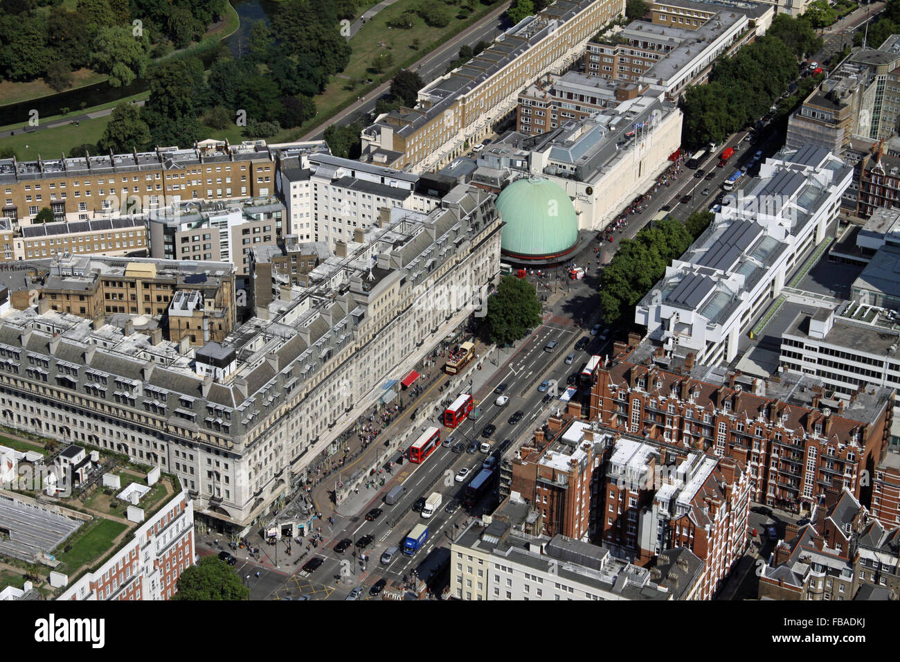 aerial view of Marylebone Road with Madame Tussauds, London NW1, UK - Stock Image