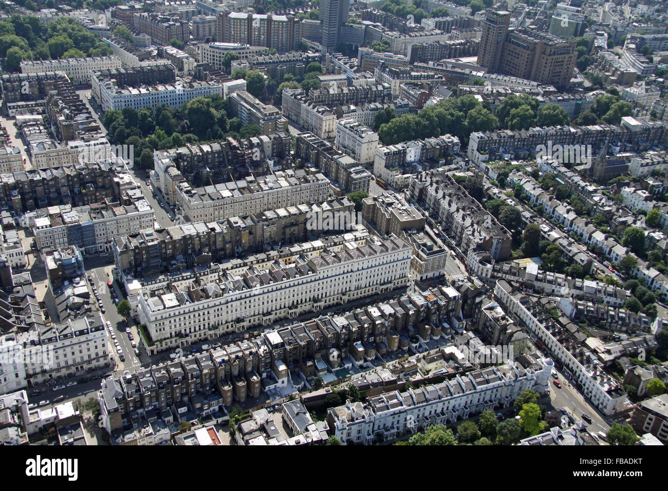 aerial view of Queens Gate Terrace in London SW7, UK - Stock Image
