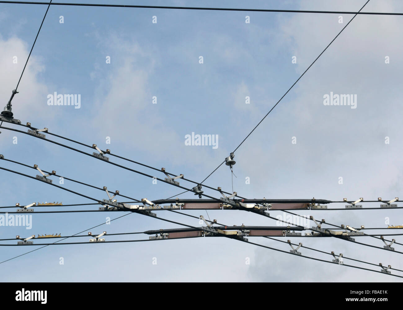 tram cables, Czech Republic Stock Photo