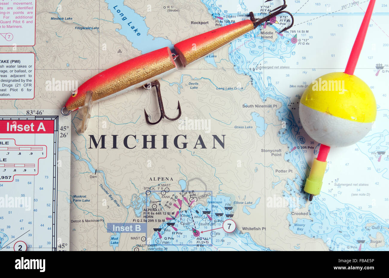 Fishing, boating, navigation; all require survival skills on the Great Lakes. - Stock Image