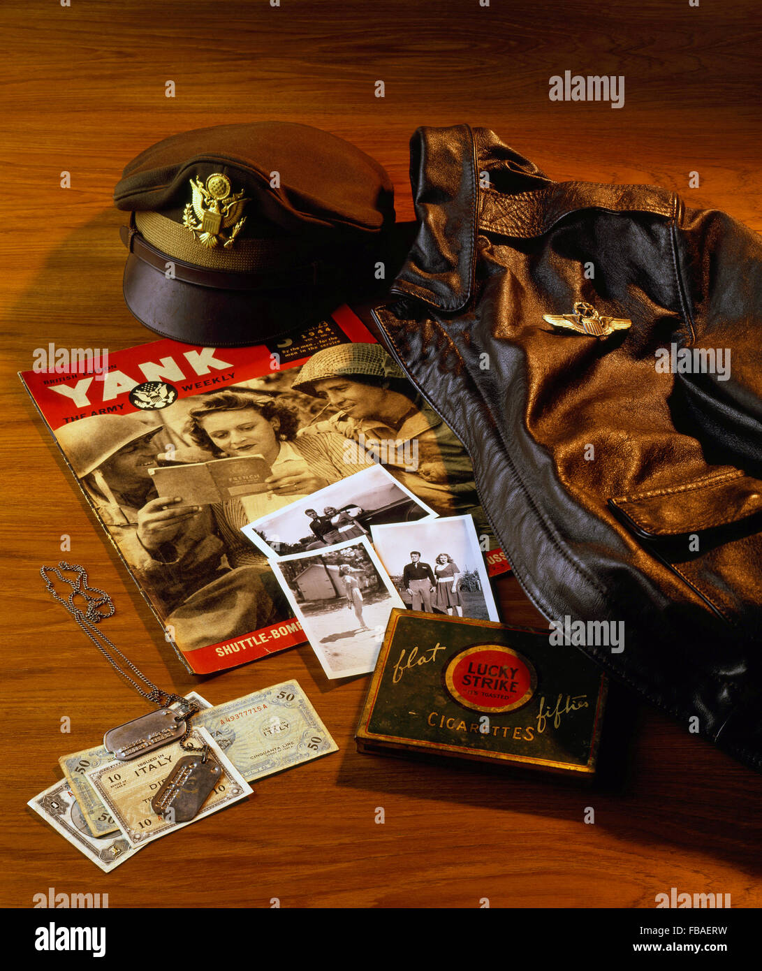 Collection of WWII aviator's memorabilia  Vintage 1943 Stock