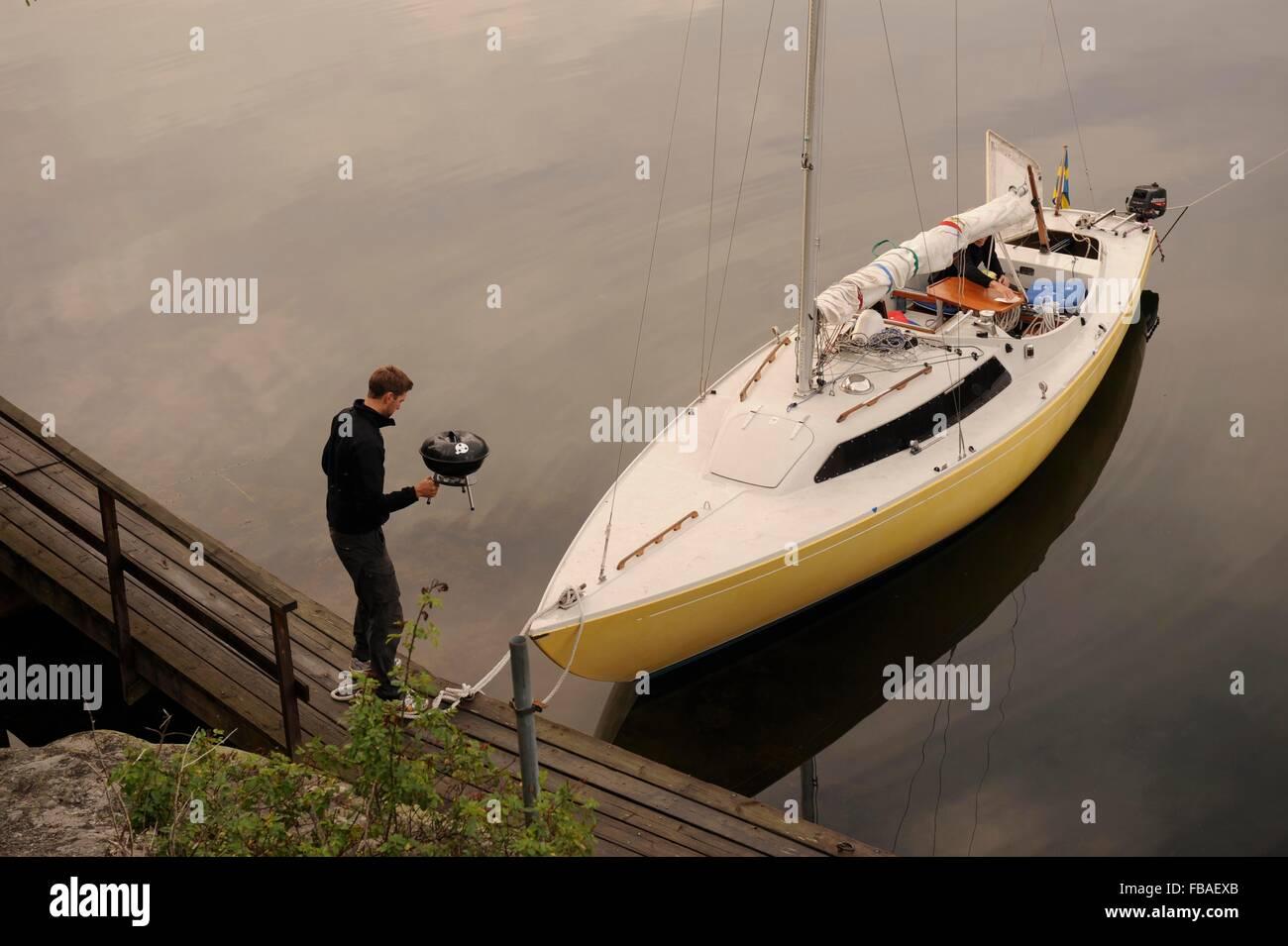 sailing boat in the Stockholm Archipelago, Sweden - Stock Image
