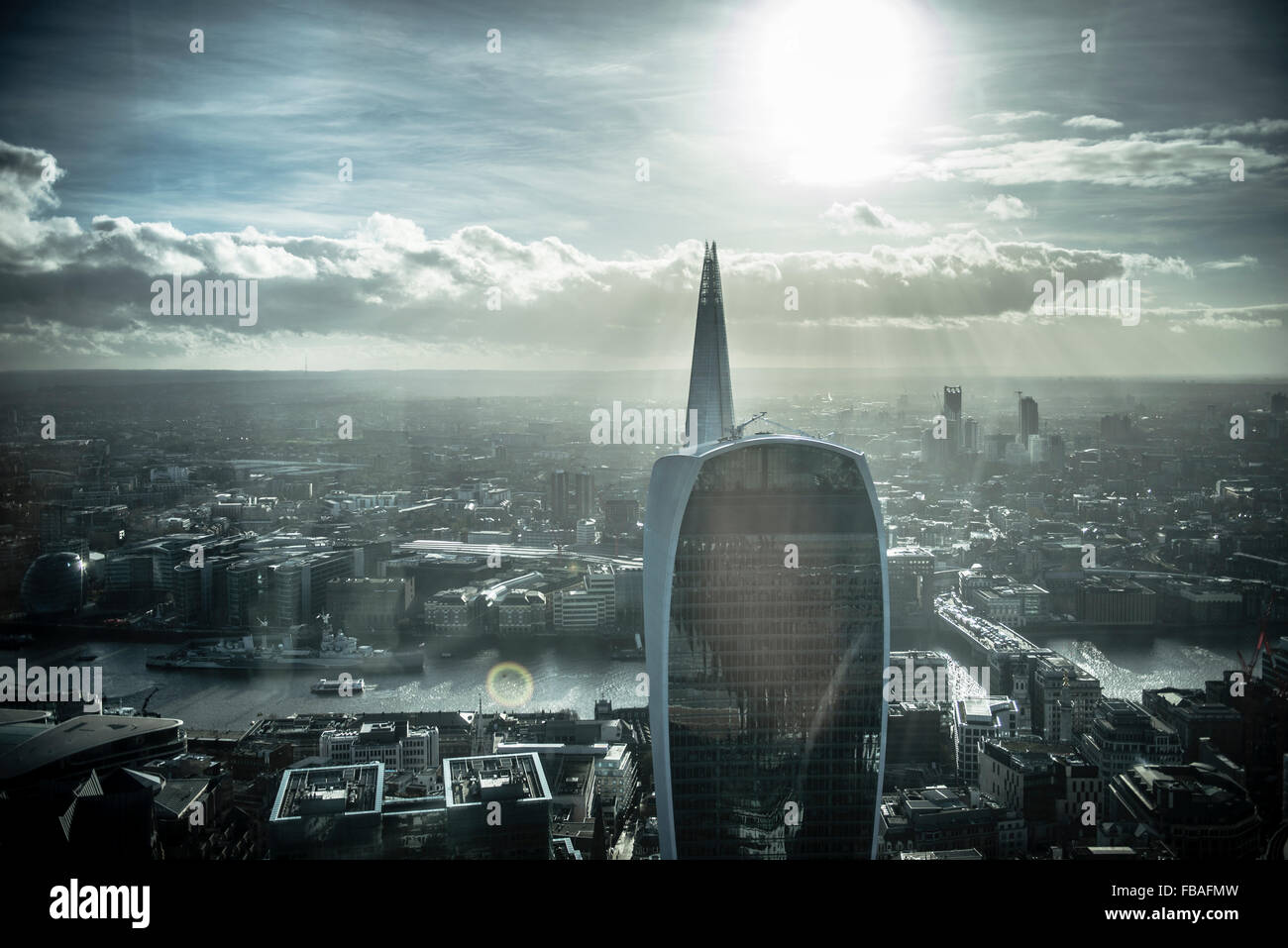 View across London cityscape, Walkie Talkie and the Shard - Stock Image