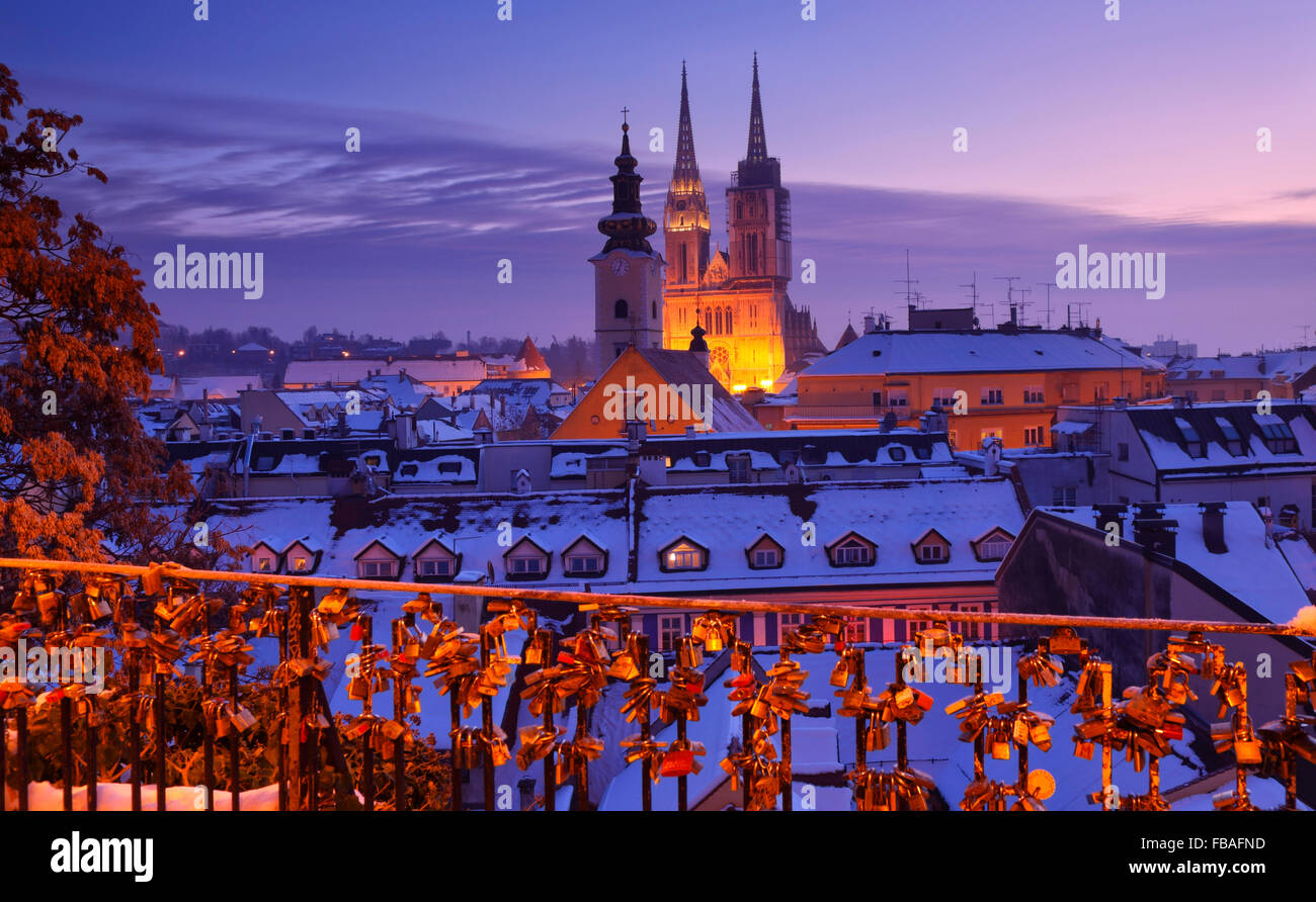 Panoramic view of Zagreb. Illuminated Cathedral. - Stock Image