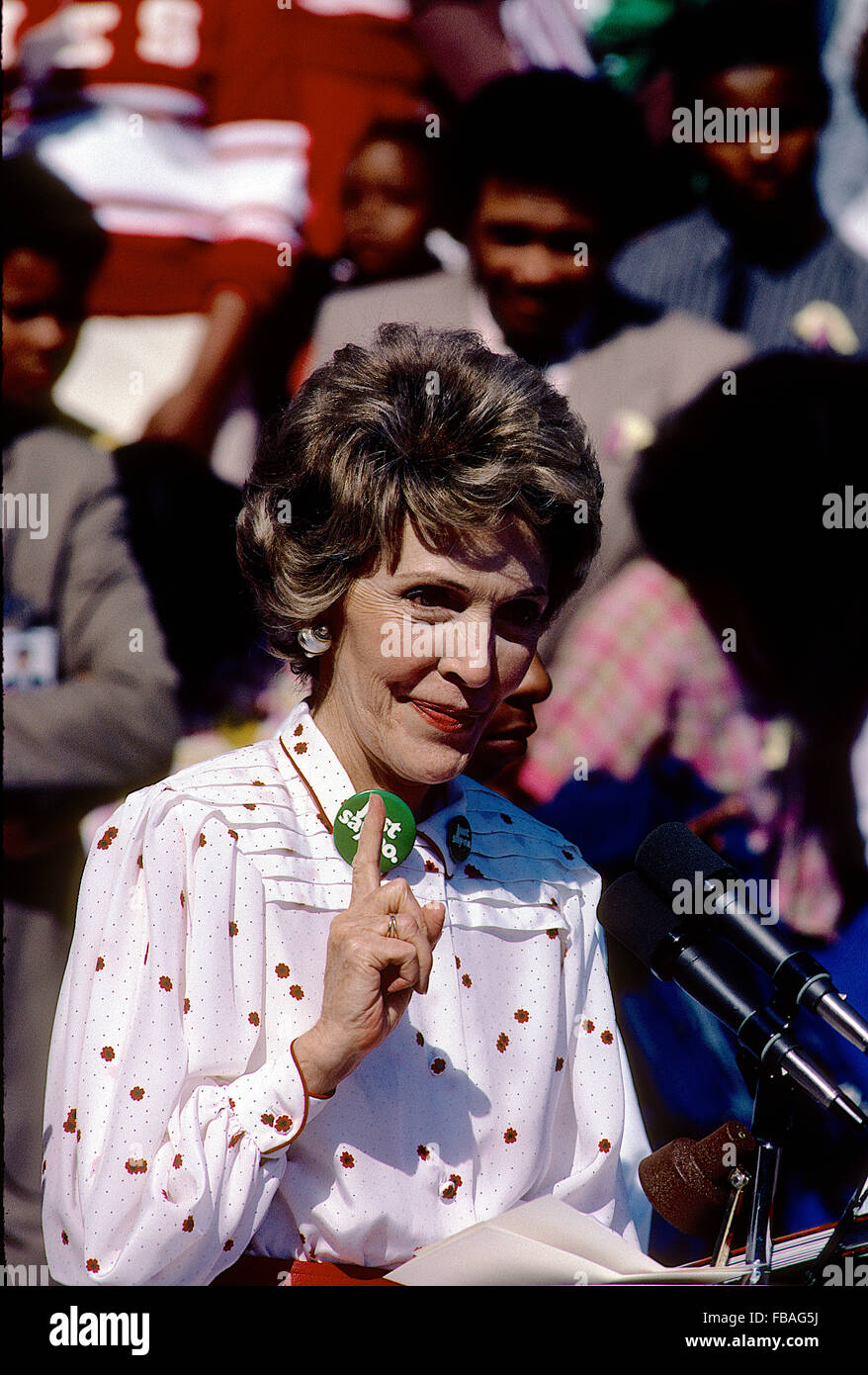 Washington, DC., USA, 1985 First Lady Nancy Reagan at  the 'Just Say No Club' event on the South Lawn of - Stock Image