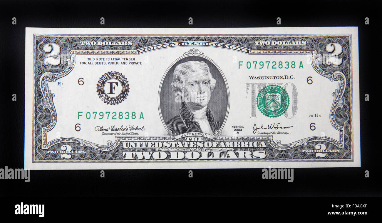 The front of a US 2 dollar bill. - Stock Image