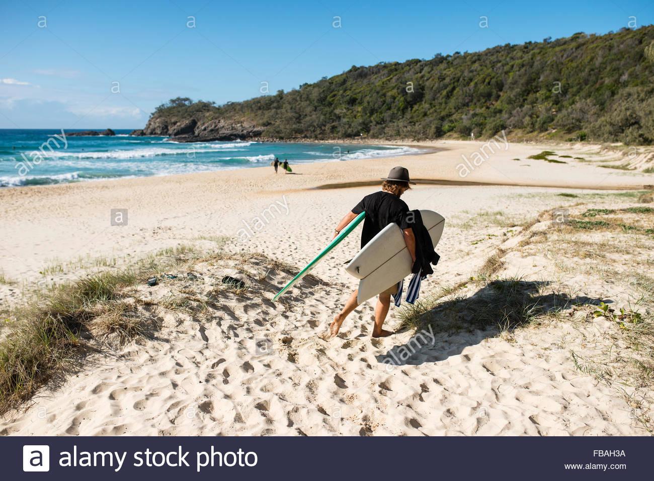 Australia, Queensland, Sunshine Coast, Noosa, Alexandria Bay, Young man carrying surfboards on beach - Stock Image
