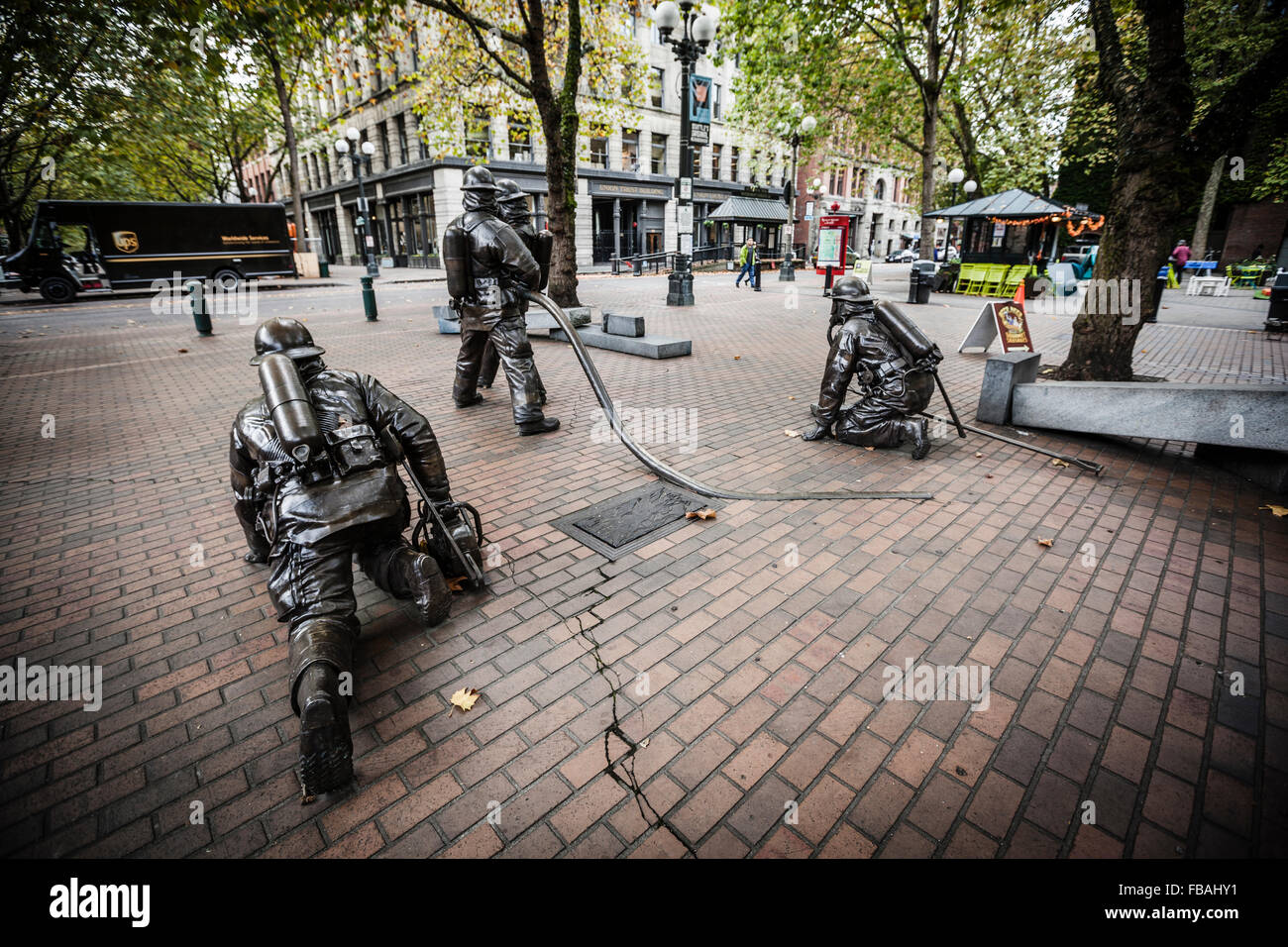 Firefighters Sculpture At Occidental Park Seattle Washington State Stock Photo Alamy