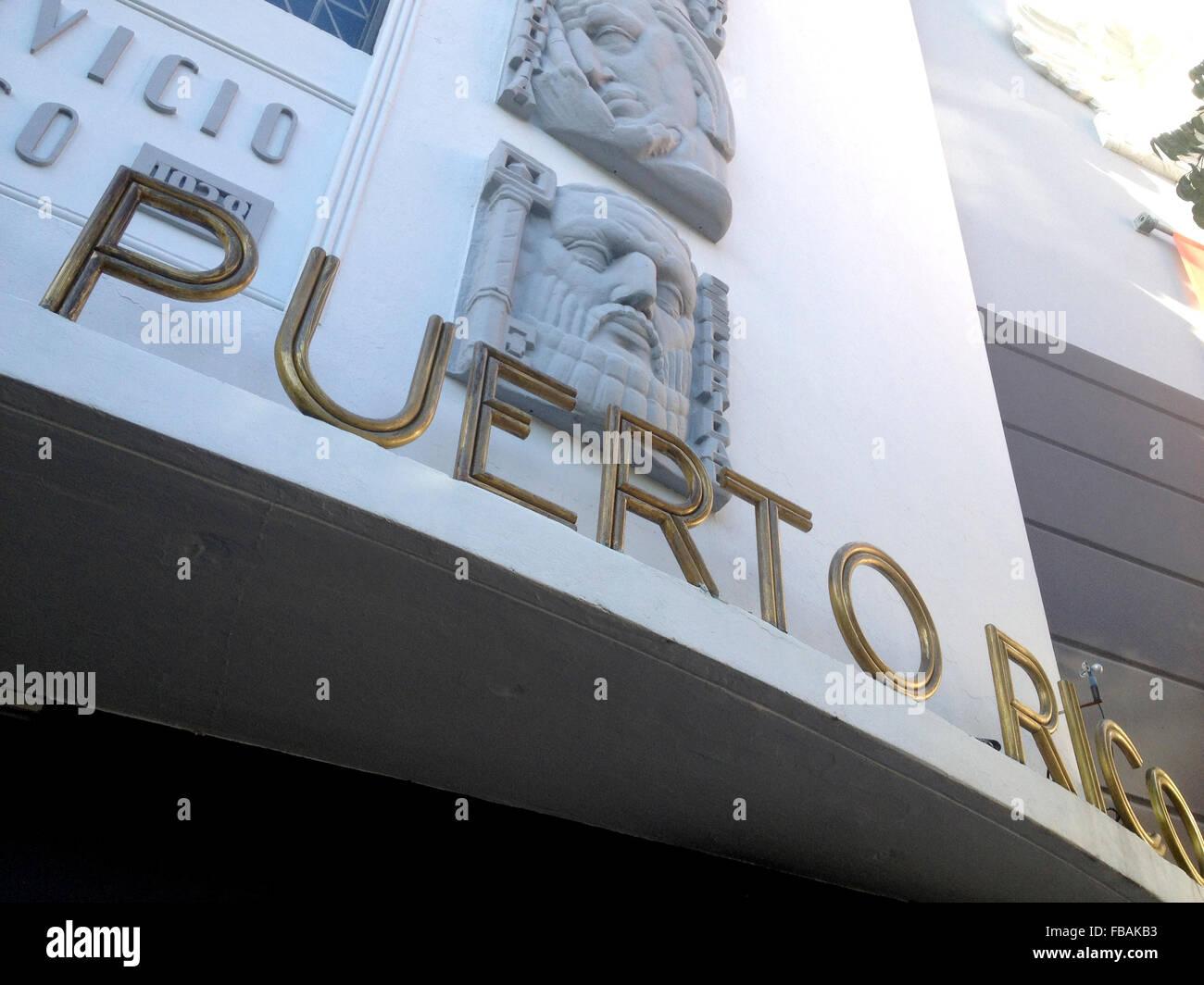 Banco Popular on Plaza Rafael Carrion Paceco,Old San Juan,Puerto Rico,Caribbean. - Stock Image