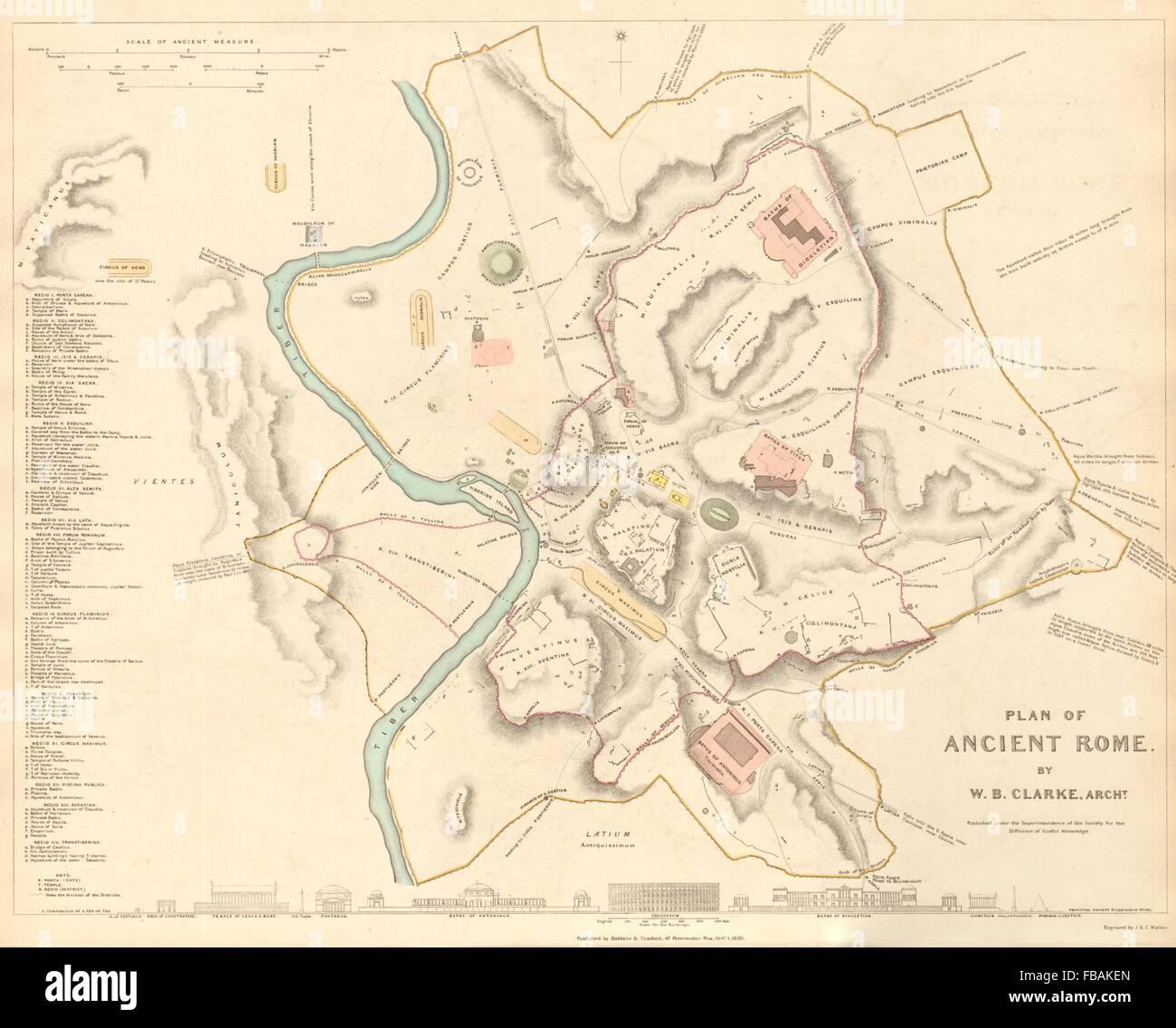 Ancient Map Of City Of Rome Stock Photos Ancient Map Of