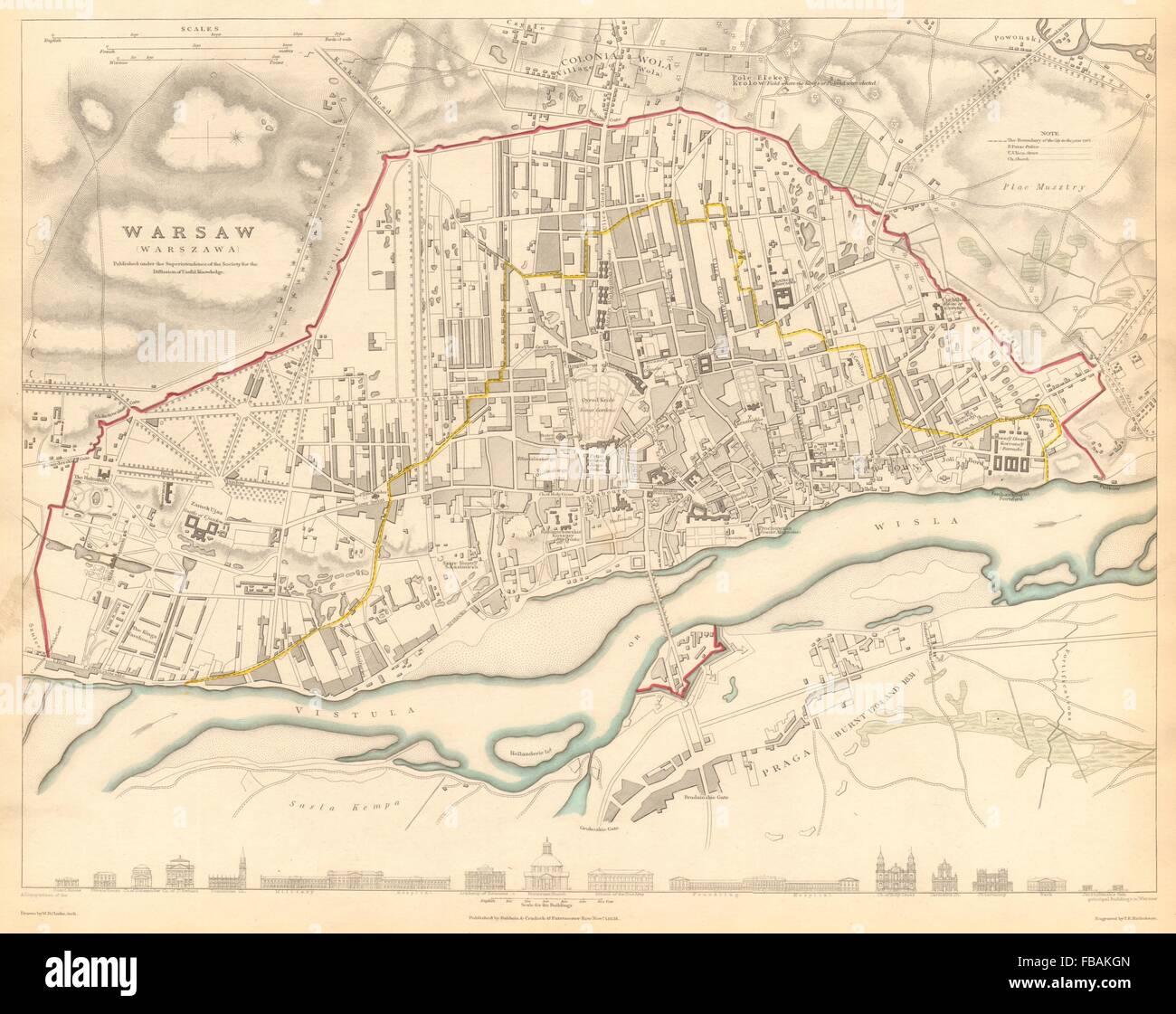 WARSAW WARSZAWA. Antique town city map plan. Building profiles.Colour.SDUK 1844 Stock Photo