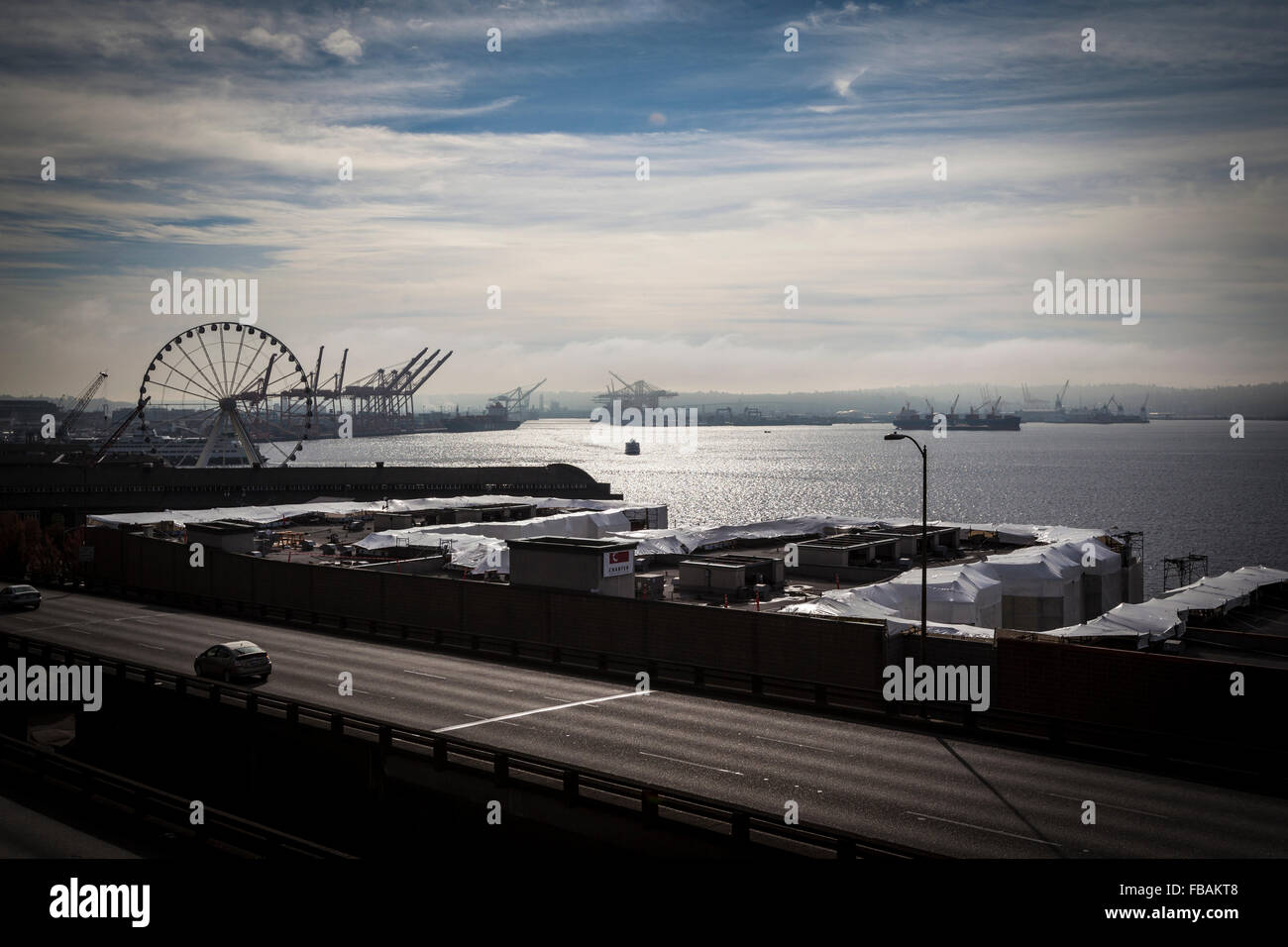 Seattle Port view from Victor Steinbrueck Park - Stock Image