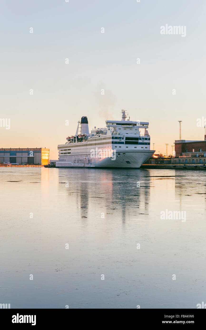 Finland, Uusimaa, Helsinki, Ferry anchored in harbor - Stock Image