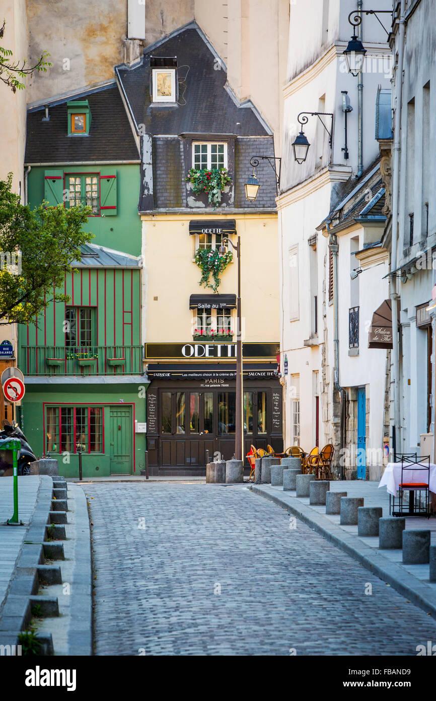 Rue Saint-Julien le Pauvre in the Latin Quarter, Paris France - Stock Image