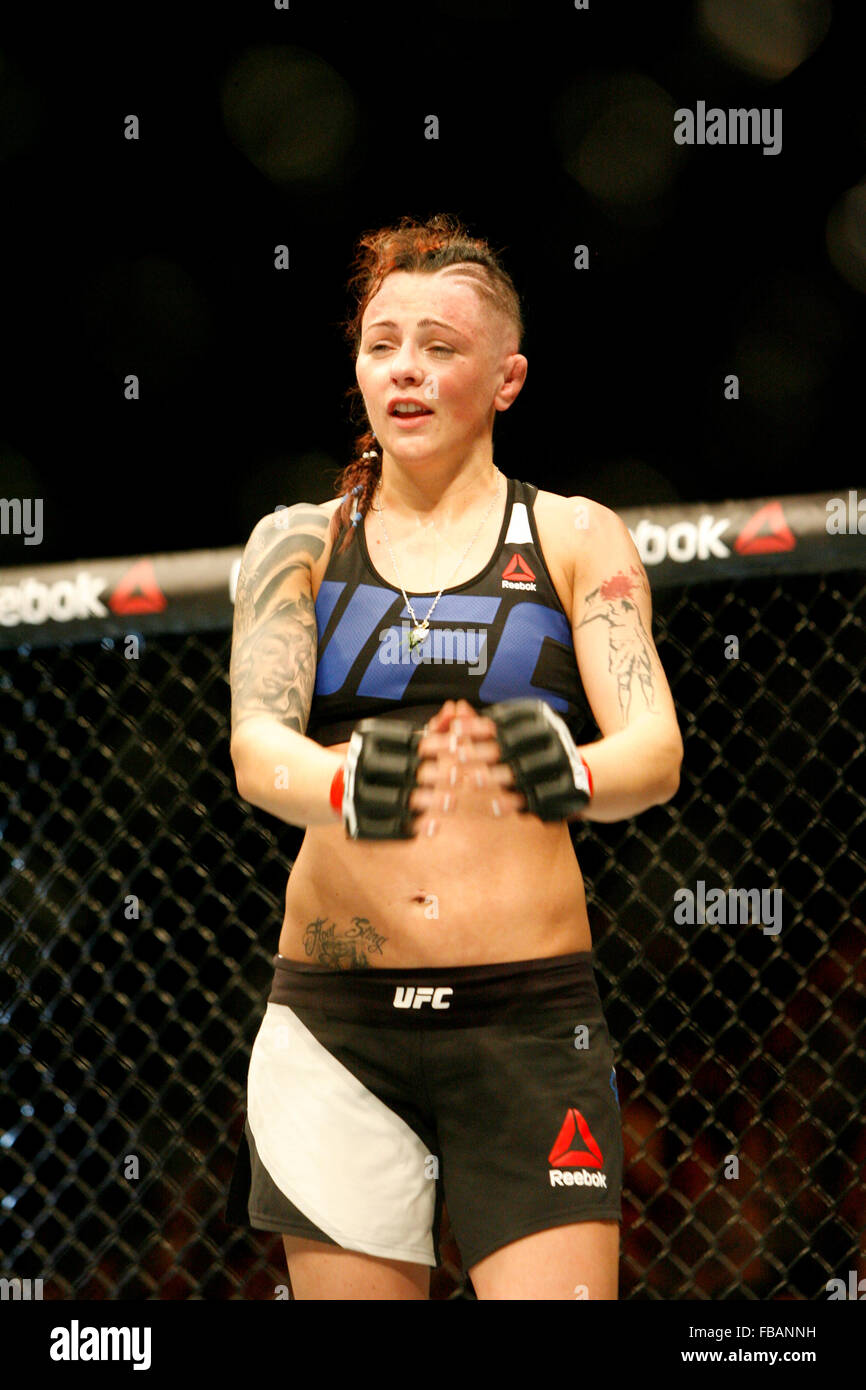 Joanne Calderwood defeats Courtney Casey during UFC Fight Night 72: Bisping vs Leites at The SSE Hydro on Saturday - Stock Image